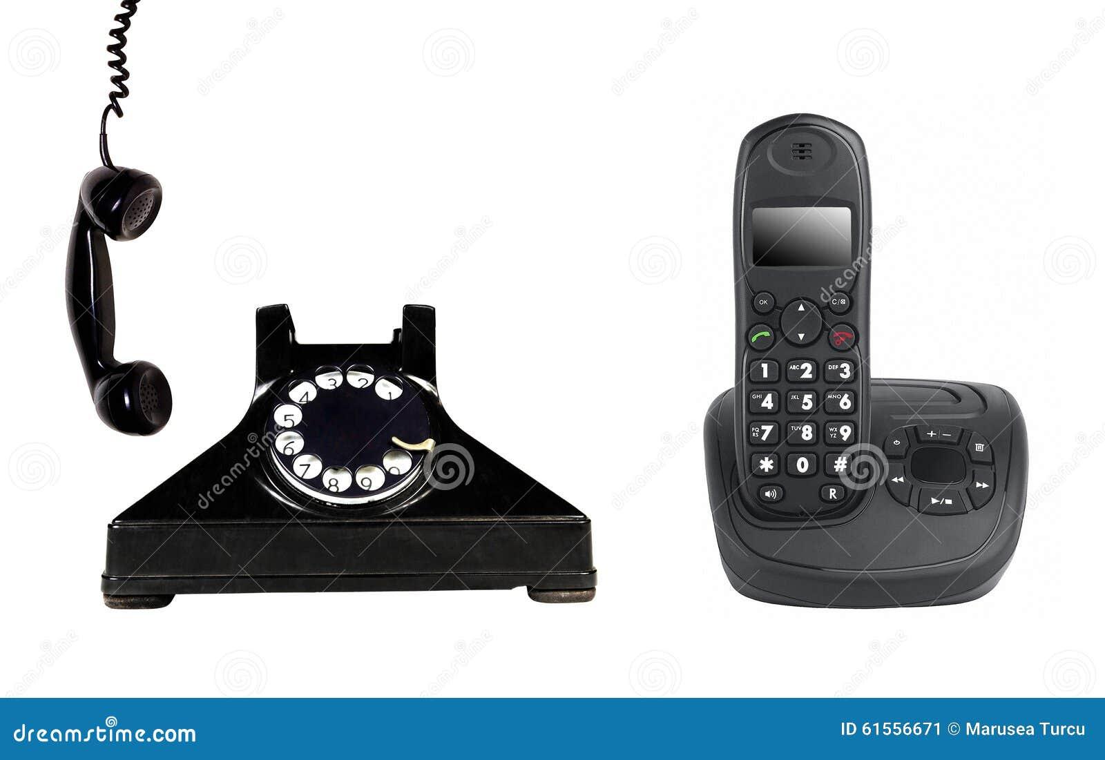 Vintage and modern phone
