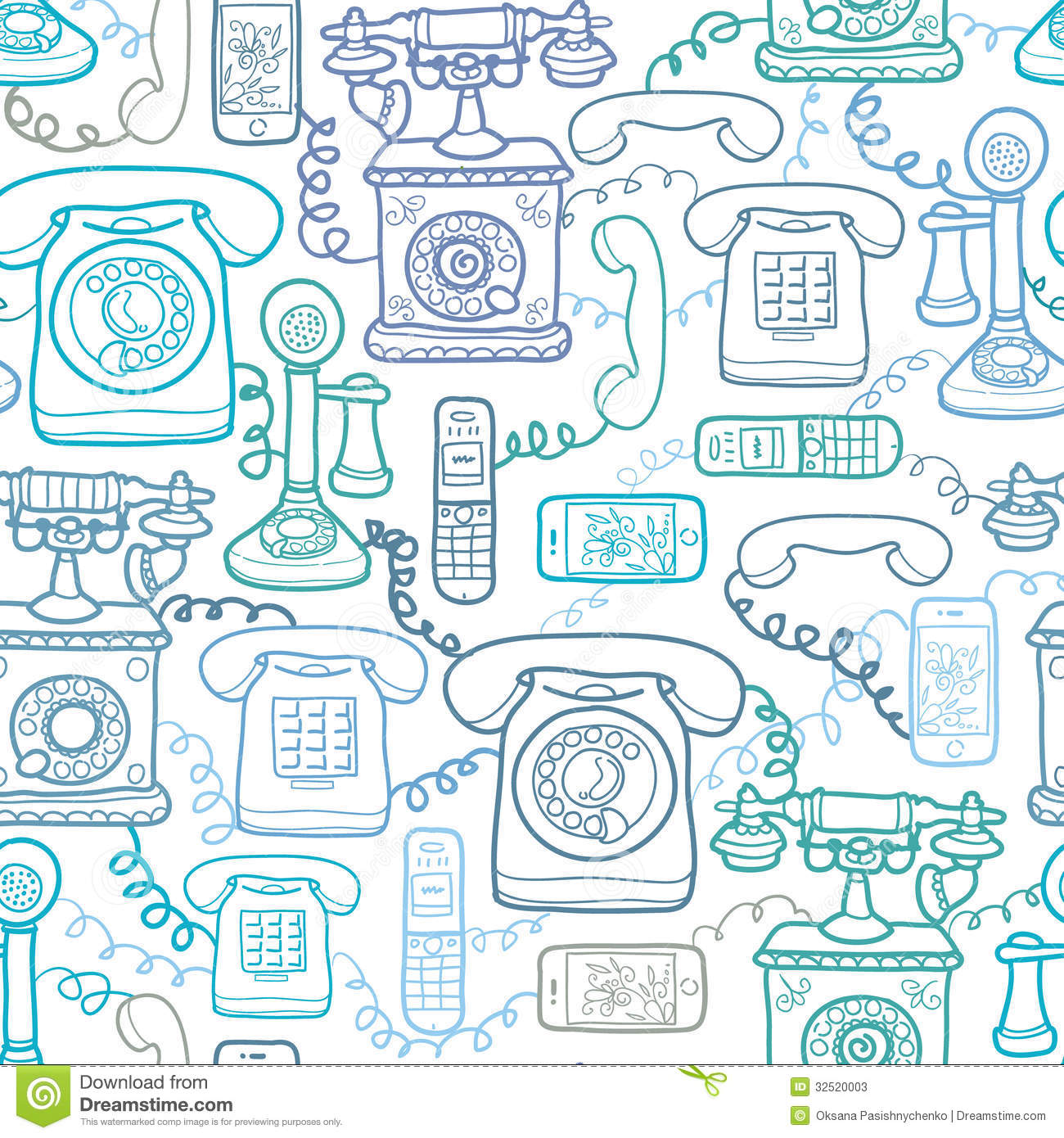 Vintage And Modern Telephones Seamless Pattern Stock