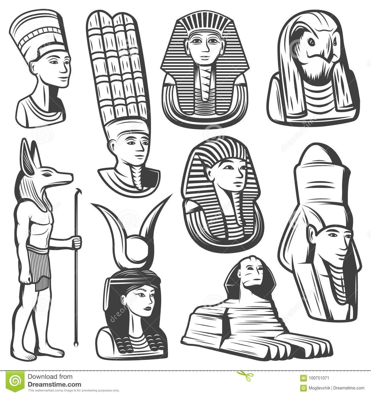 e5182c1b8 Vintage monochrome ancient Egypt people set with pharaoh mask sphinx  egyptian gods and goddesses isolated vector illustration