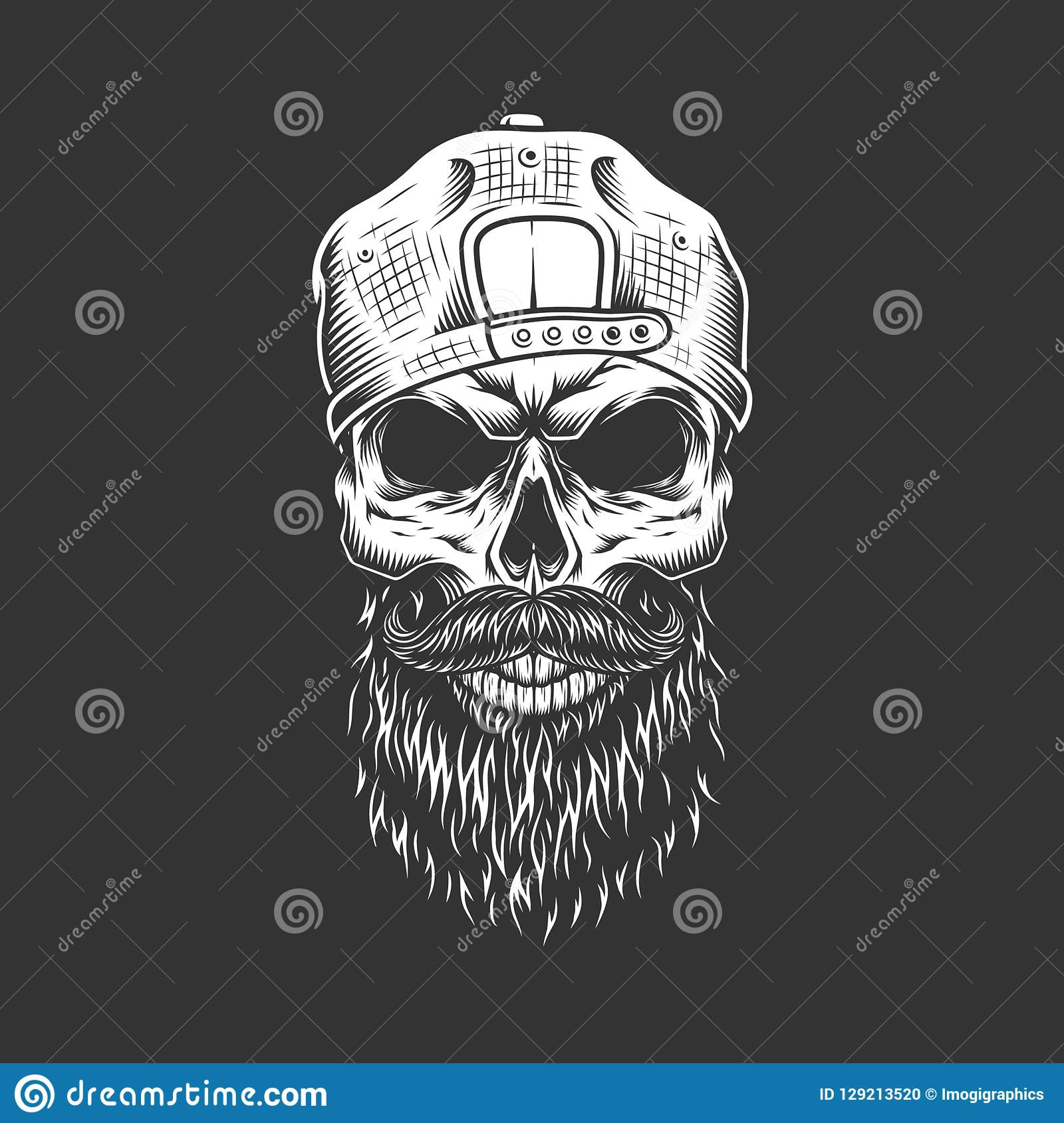 f21ecbc2e61 Vintage monochrome hipster skull in cap with beard and mustache isolated  vector illustration