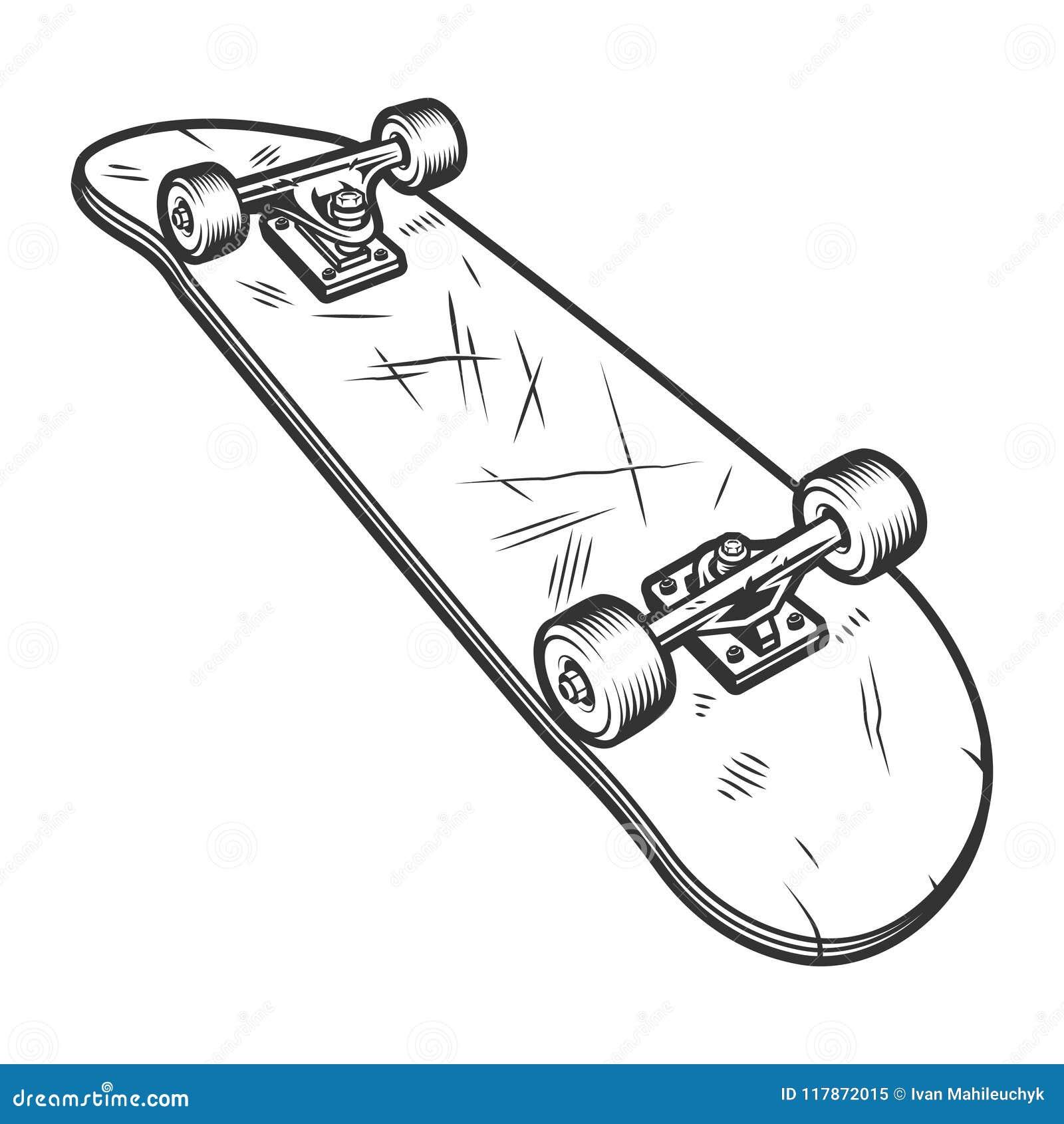 vintage monochrome inverted skateboard template stock vector