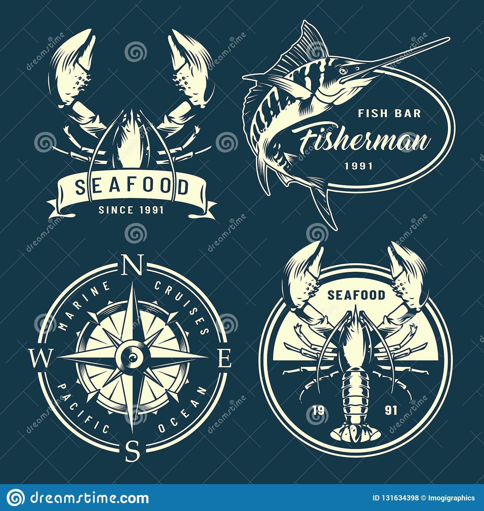 Vintage Monochrome Nautical And Marine Labels Stock Vector