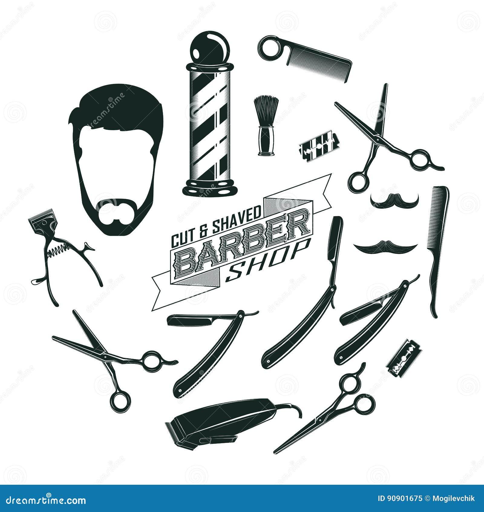 Vintage monocromático Barber Shop Elements Concept