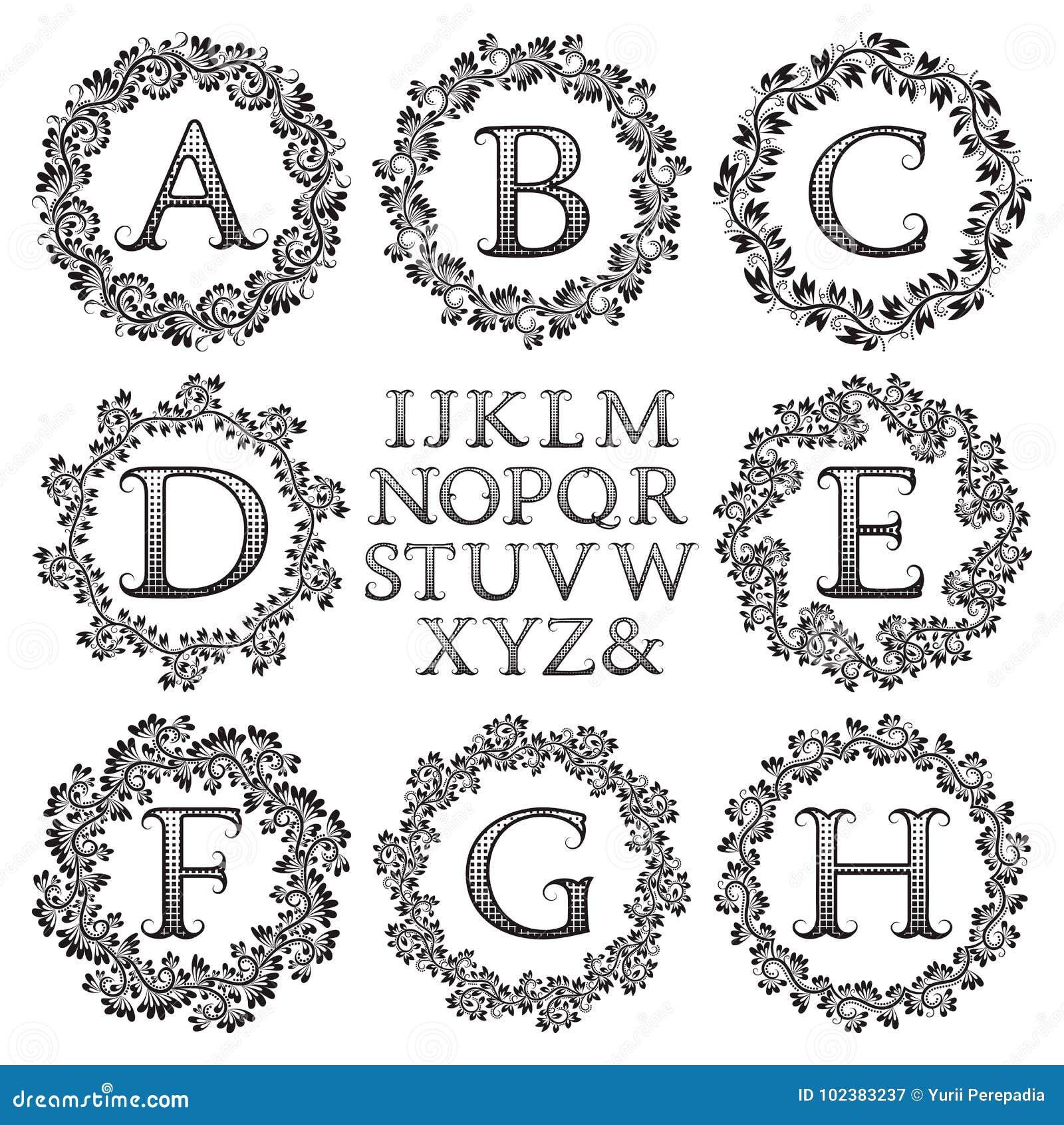 Vintage Monogram Kit. Black Patterned Letters And Floral Round ...