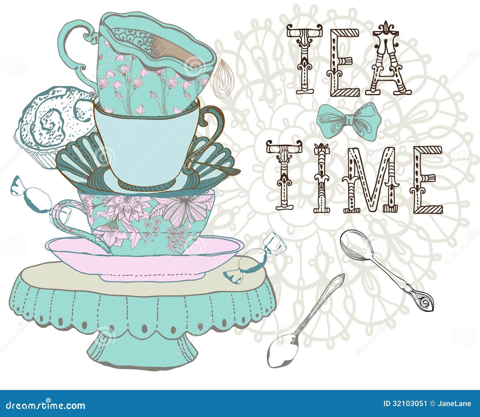 vintage morning tea time background stock illustration illustration of hand object 32103051. Black Bedroom Furniture Sets. Home Design Ideas