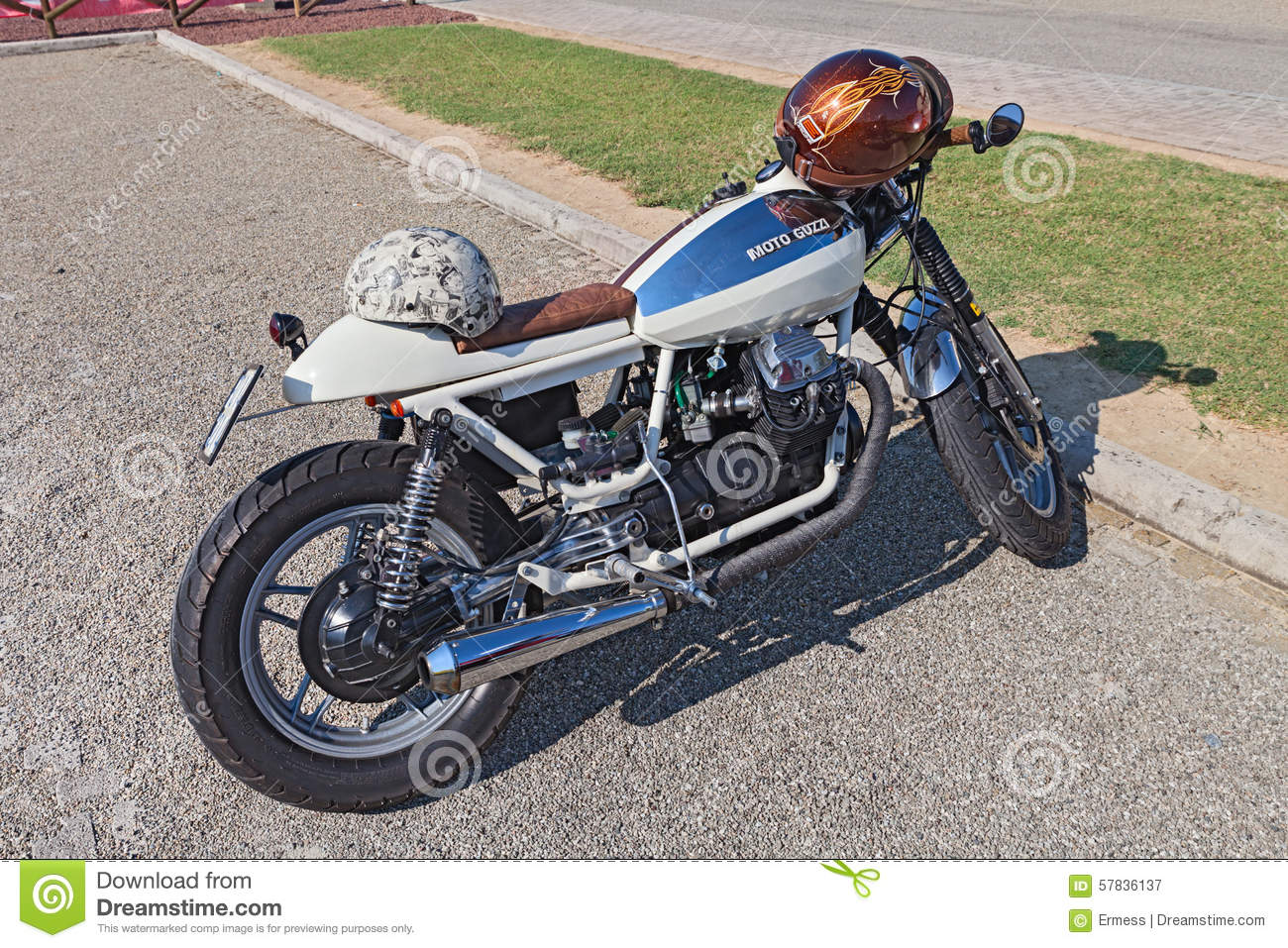 vintage moto guzzi v35 cafe racer editorial photography image 57836137. Black Bedroom Furniture Sets. Home Design Ideas