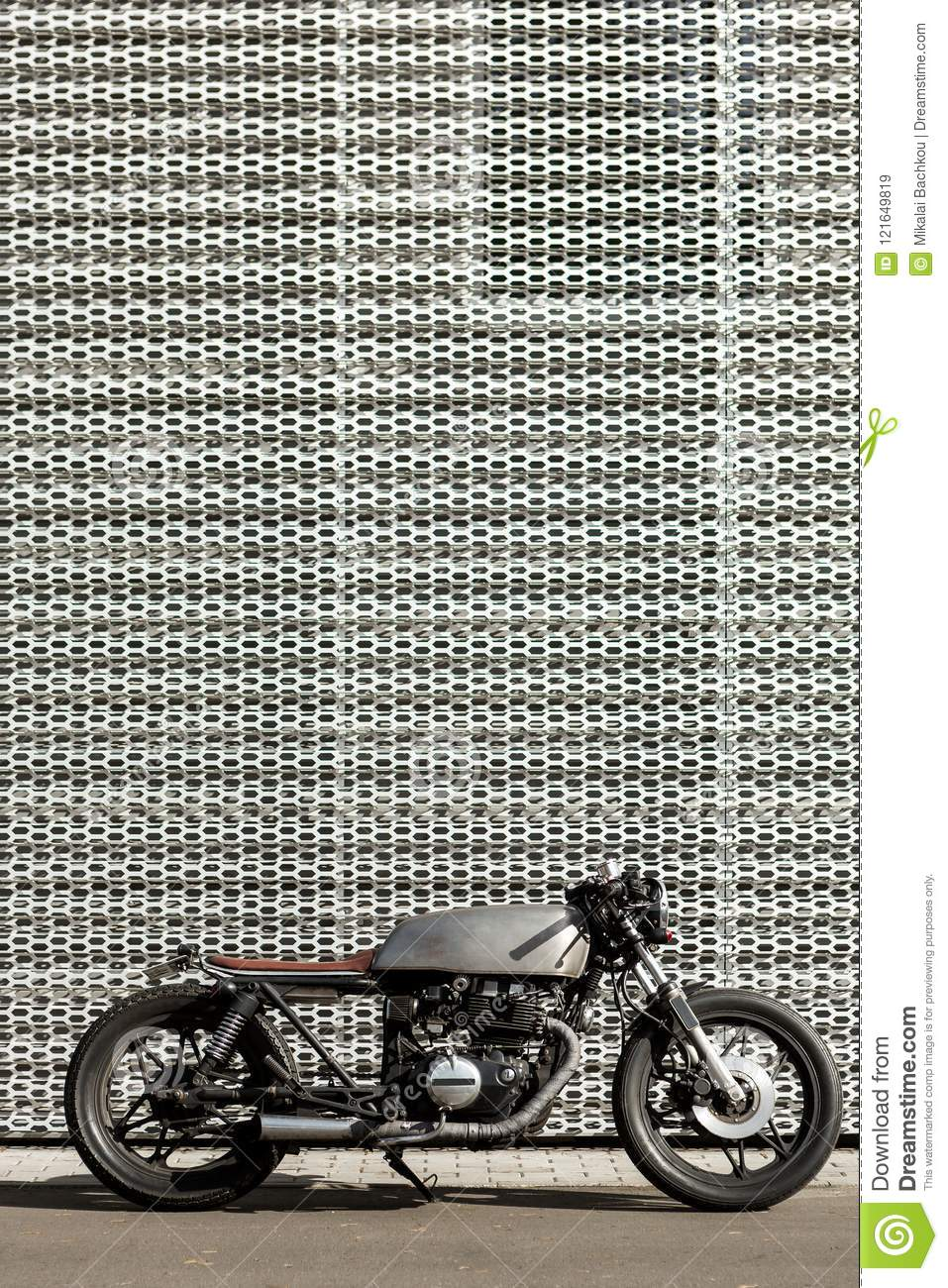Vintage Motorcycle Cafe Racer Style Stock Image Image Of Single Grey 121649819
