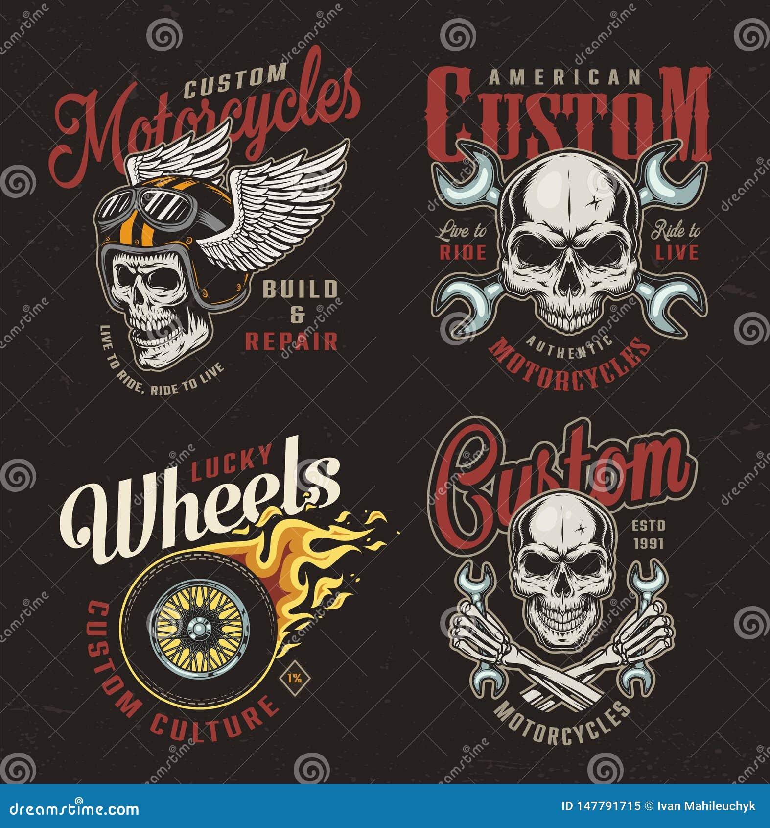 Vintage motorcycle colorful emblems