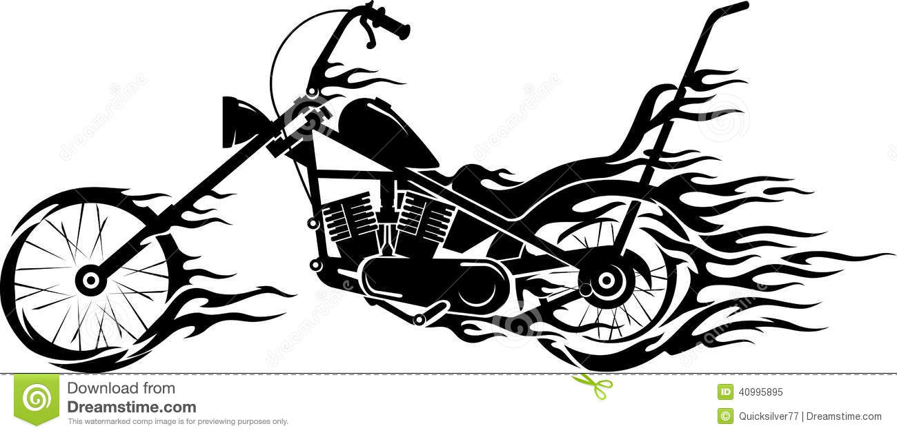 Motorcycle clip art with flames - Vintage Motorcycle Flame