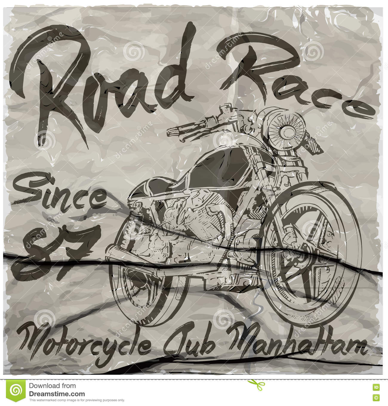 Vintage Motorcycle Hand Drawn Vector Tee Graphic Design Stock Vector Image 71471280