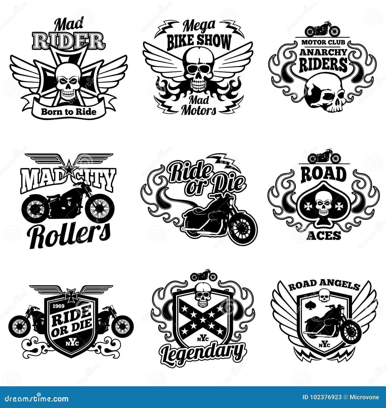 Vintage Motorcycle Labels. Motorbike Vector Retro Badges