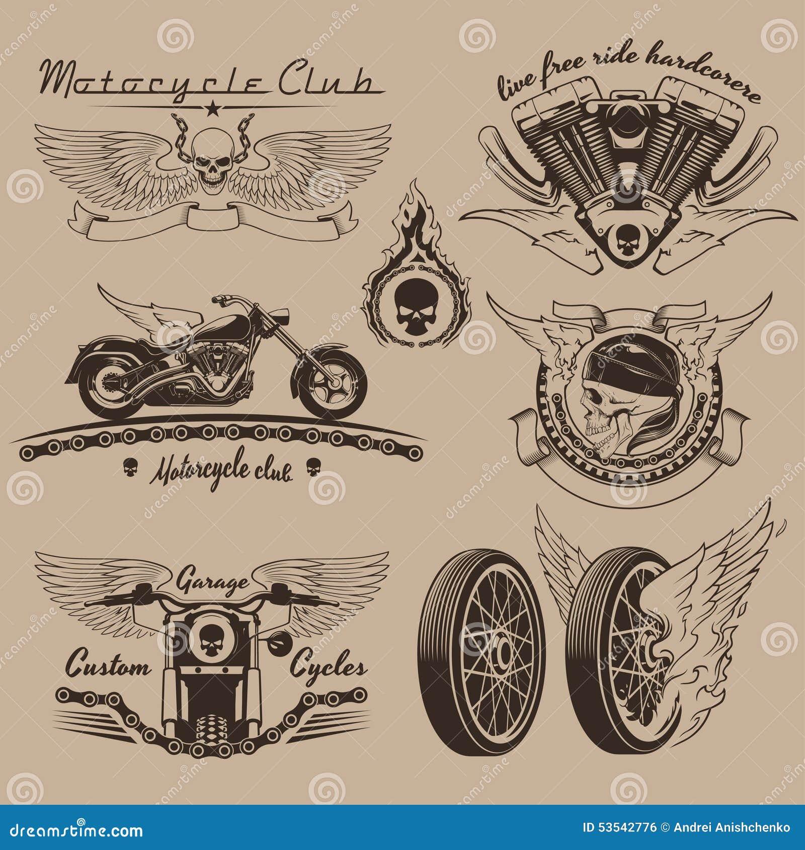 vintage motorcycle labels stock vector image of helmet 53542776. Black Bedroom Furniture Sets. Home Design Ideas