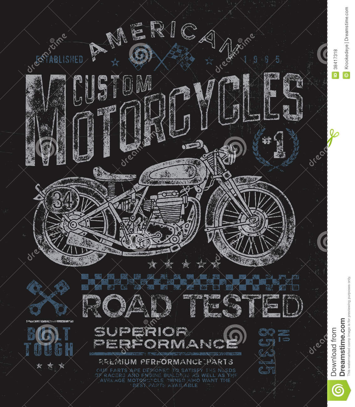 Design t shirts graphic - Vintage Motorcycle T Shirt Graphic Royalty Free Stock Photos