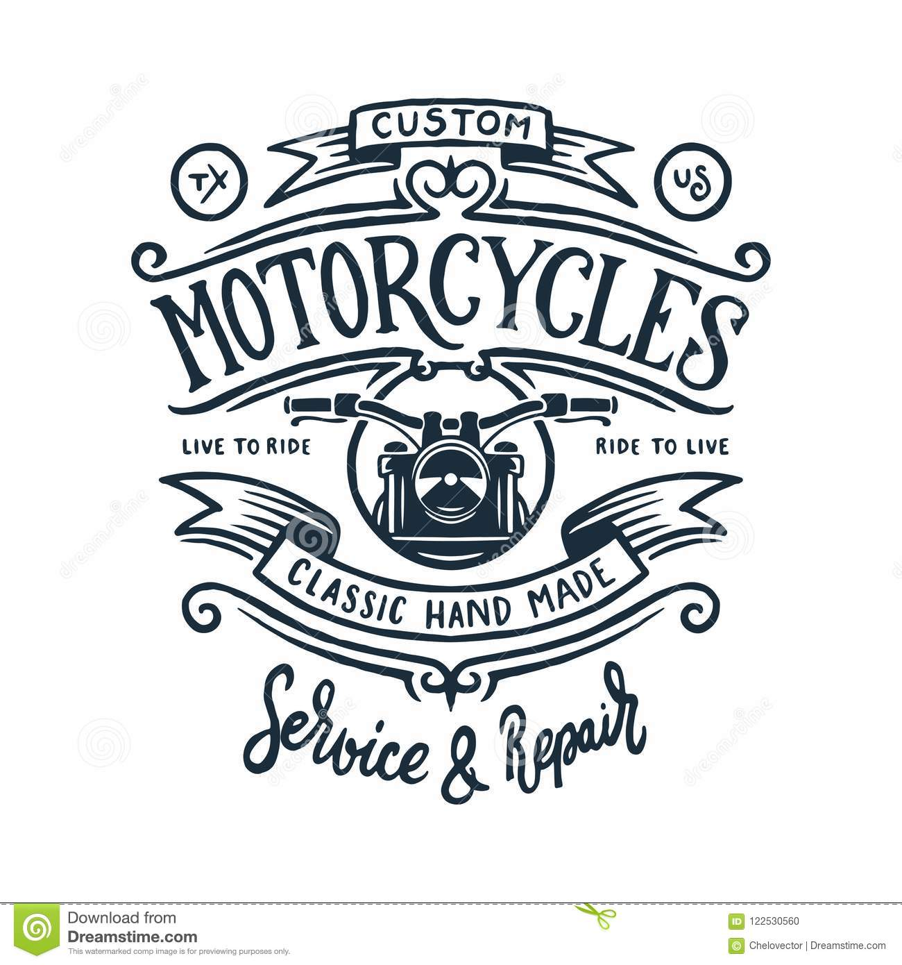 f6debd82 Vintage motorcycle t-shirt hand drawn graphics. Live to ride quote. Custom  motorcycles garage service and repair. Vector illustration.