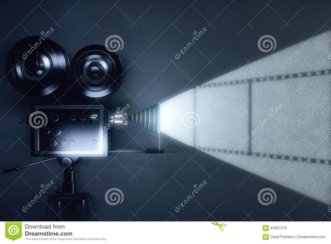 Download Vintage Movie Camera With Reel Of Film On Grey Wall Stock Illustration - Illustration of fashioned, film: 64051270