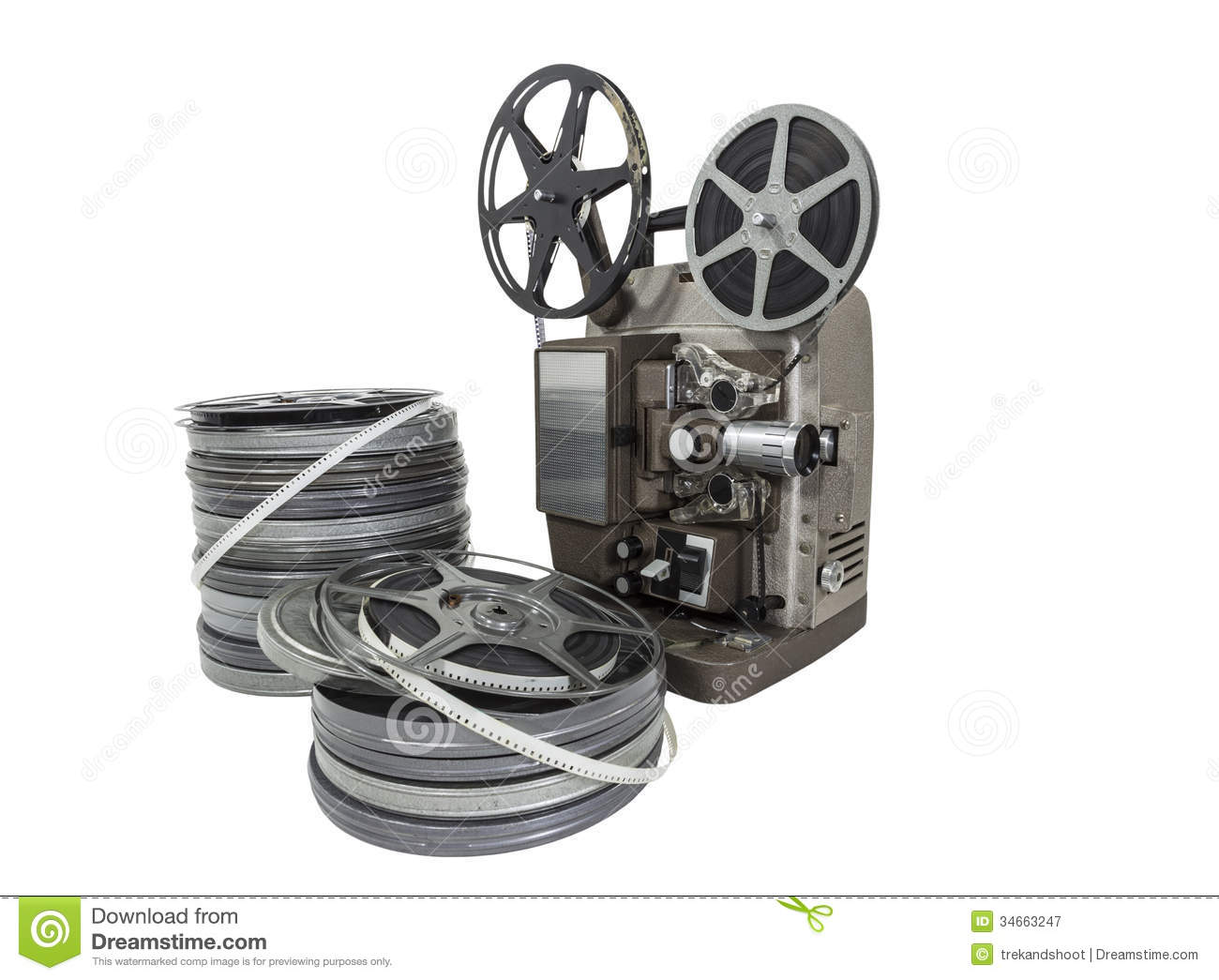Vintage movie film reels and projector isolated stock image image download comp thecheapjerseys Choice Image