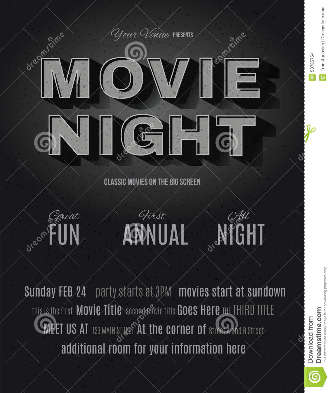vintage movie night invitation template stock vector illustration