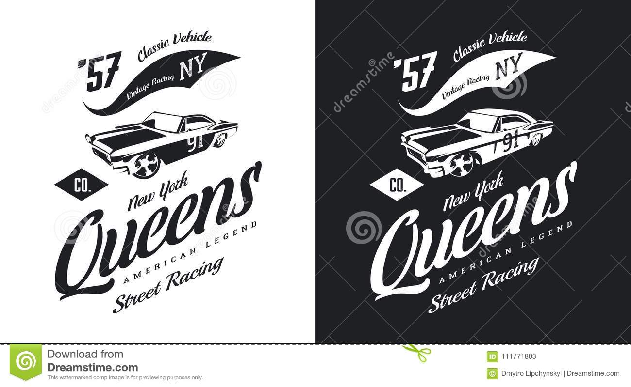 Vintage muscle car black and white isolated vector logo.