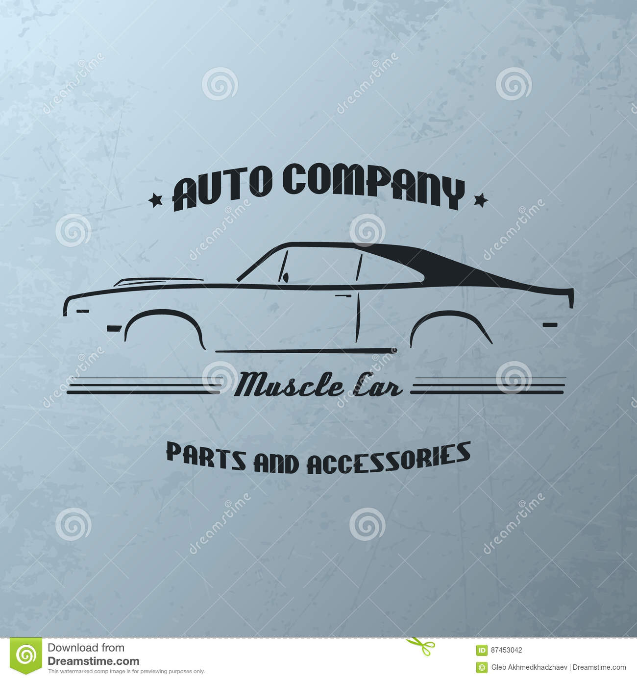 Vintage muscle car company logo design.