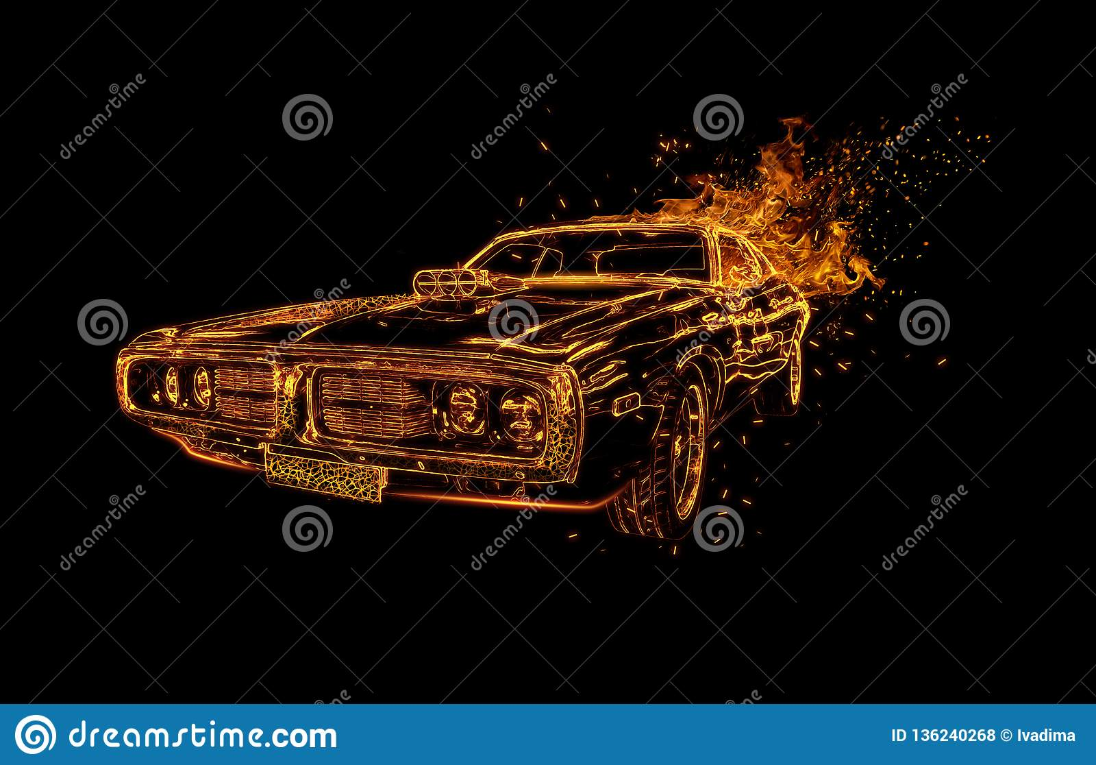 Muscle car, neon light on black background.