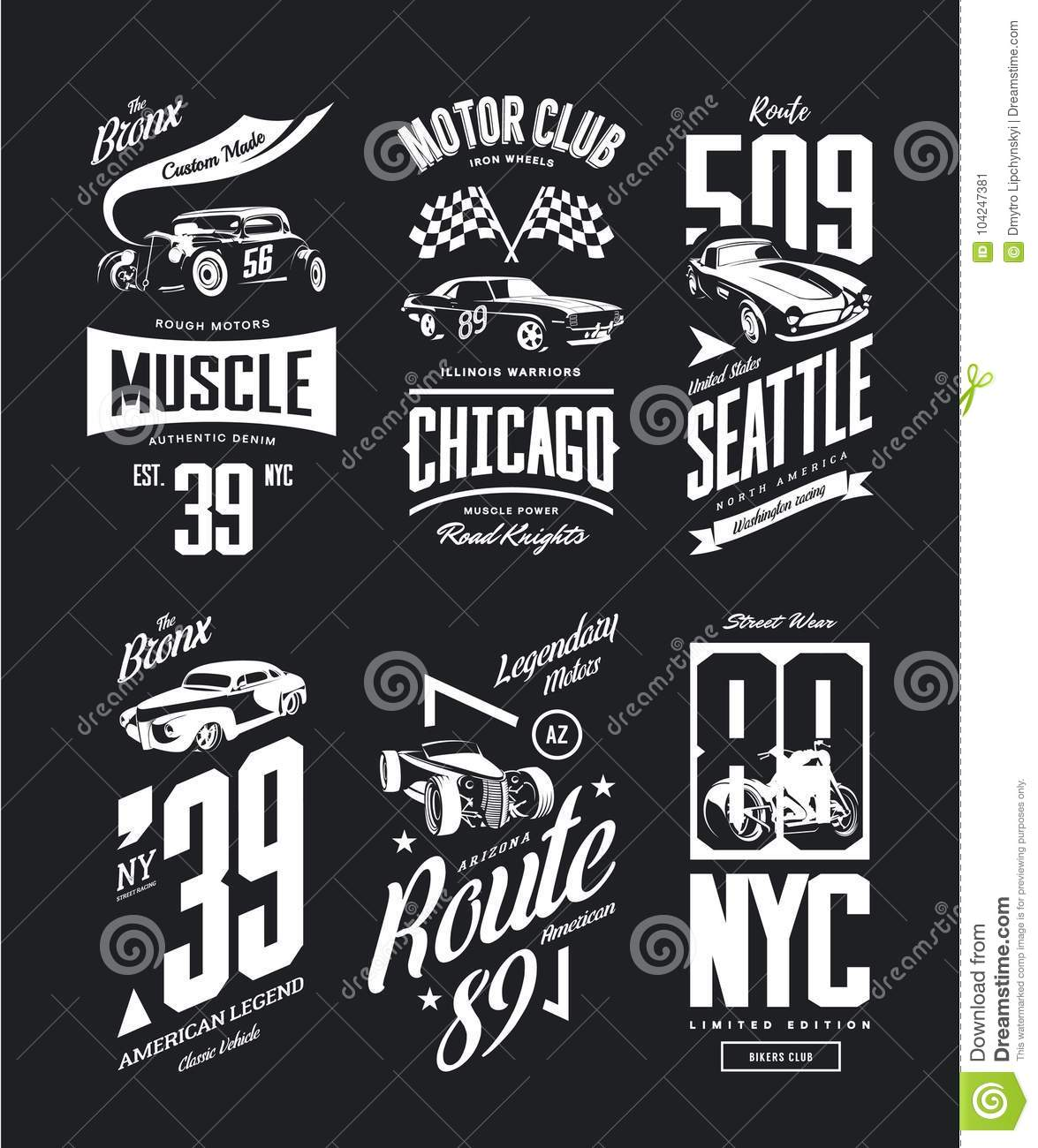 Vintage Muscle Car Roadster Vector T Shirt Logo Isolated Set Stock