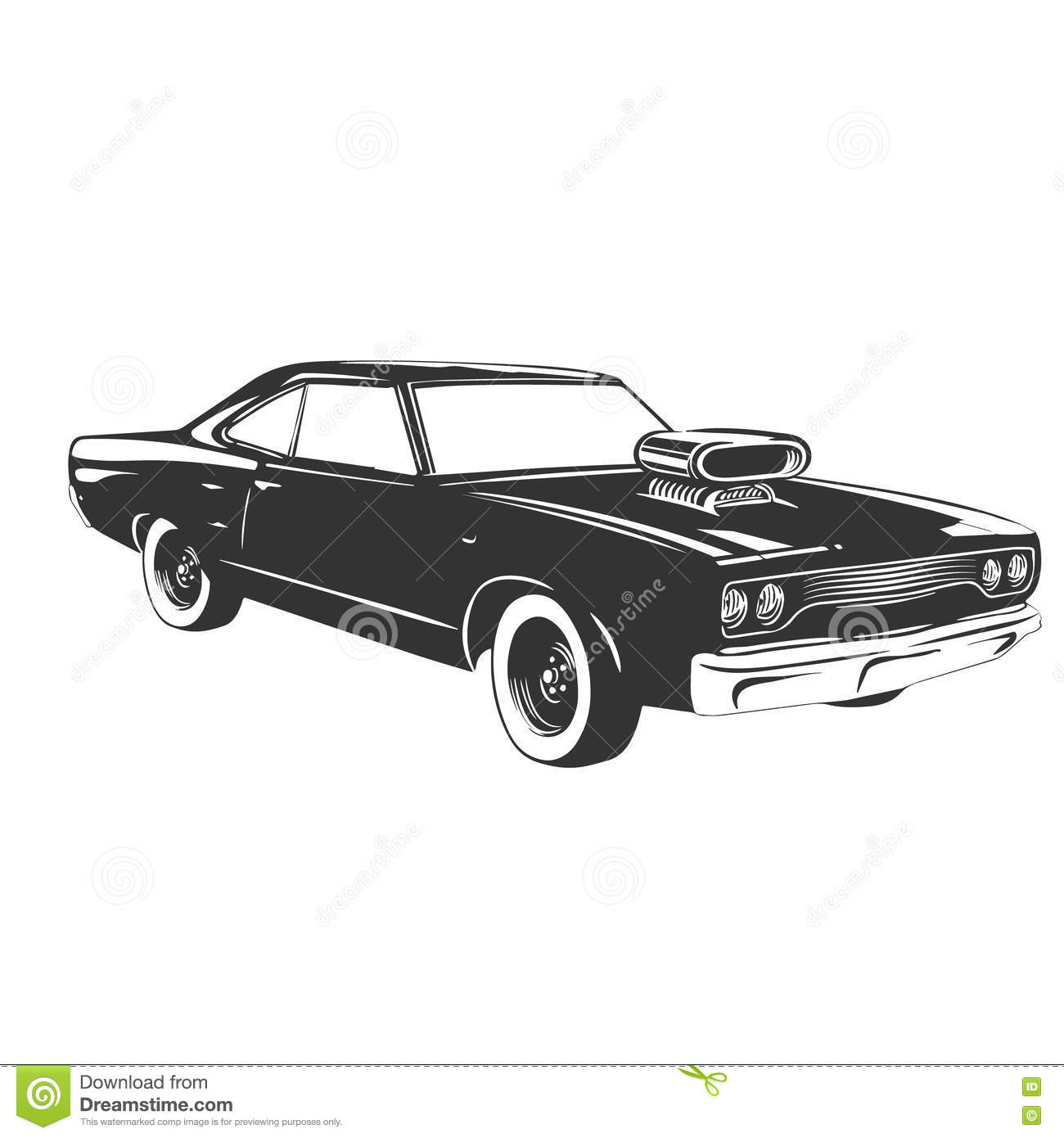 Vintage Muscle Car Stock Vector Illustration Of Drawing 71501442
