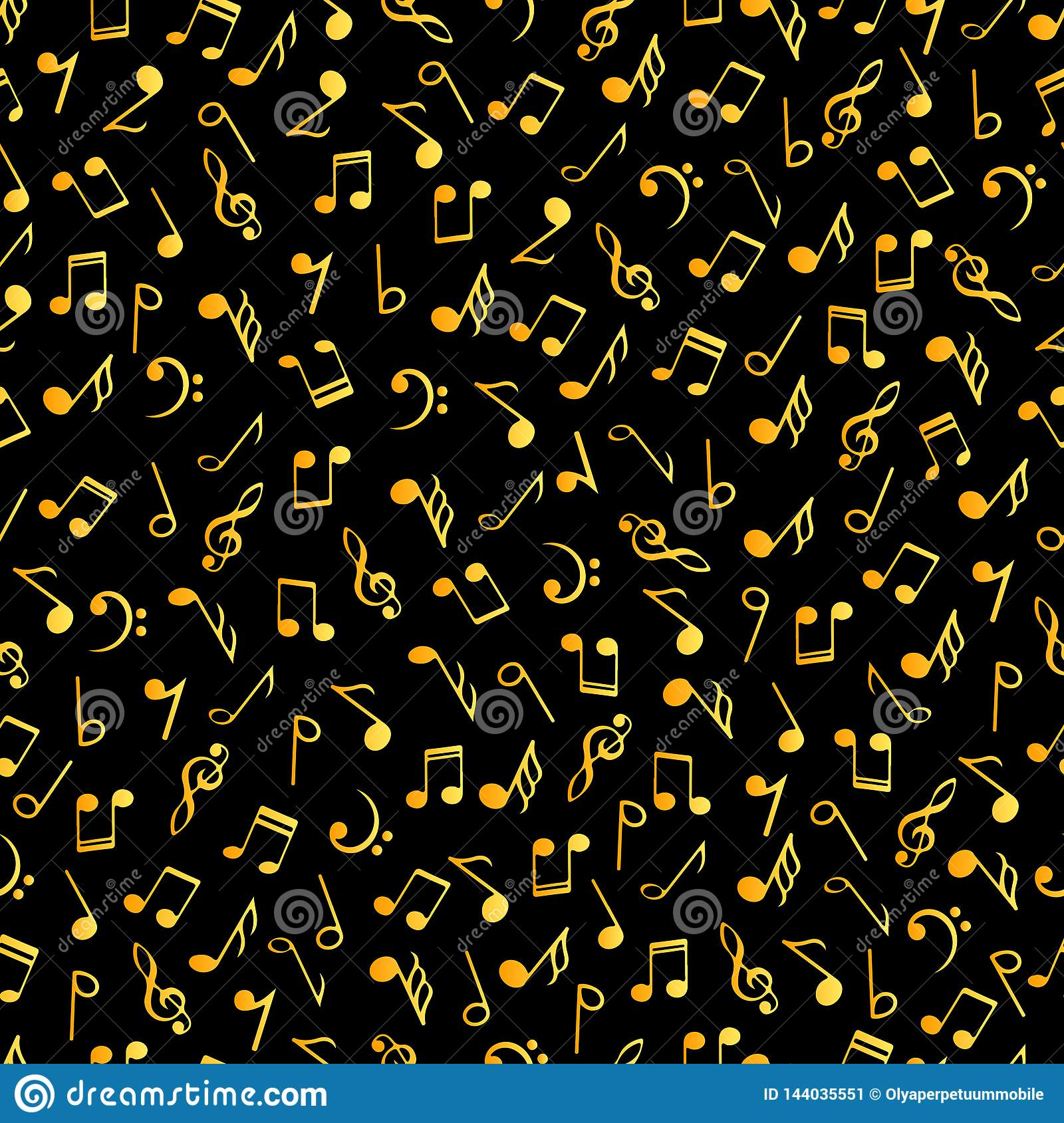 Vintage Music Decorative Notes Seamless Pattern Gradient