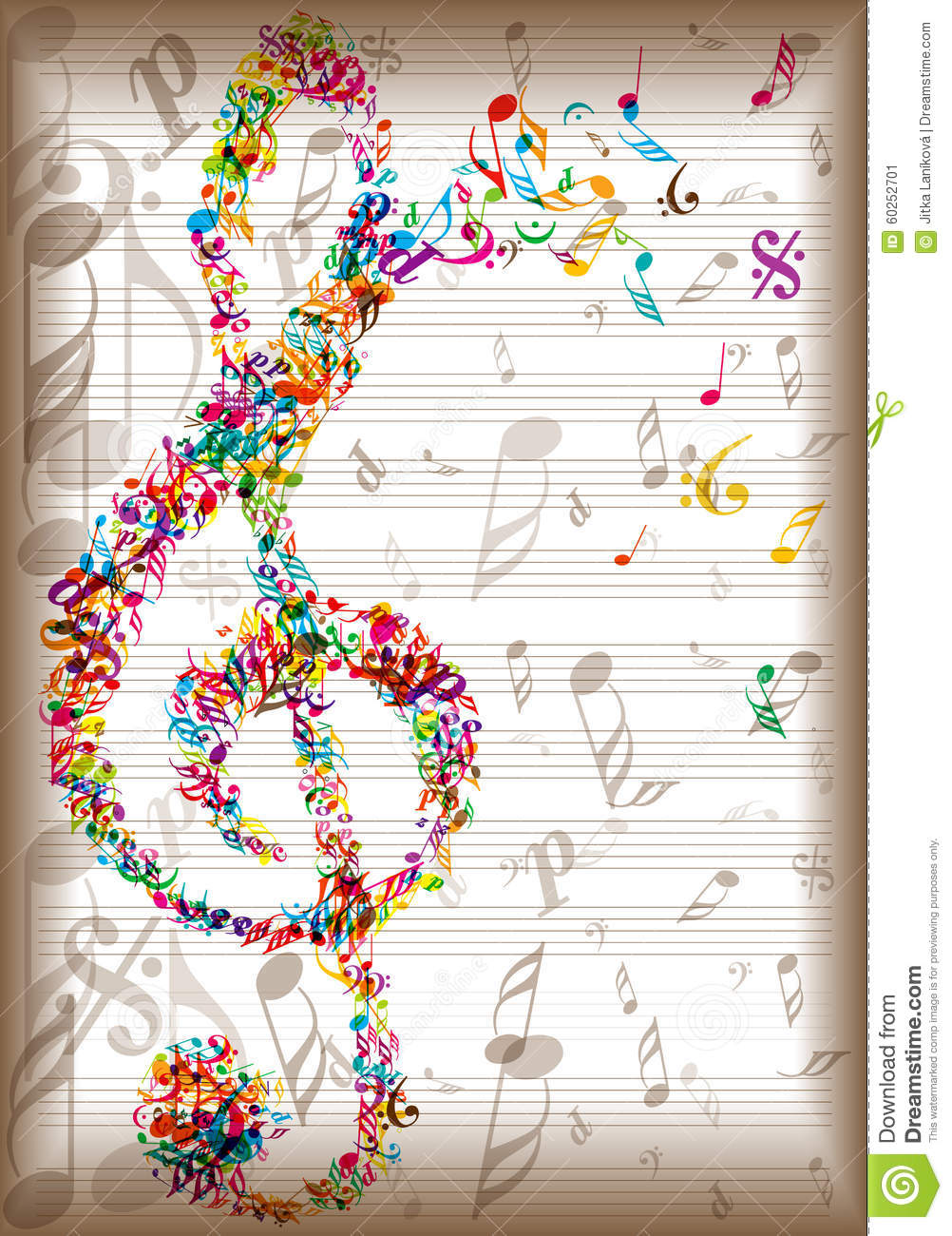 vintage music notes background stock vector image 60252701