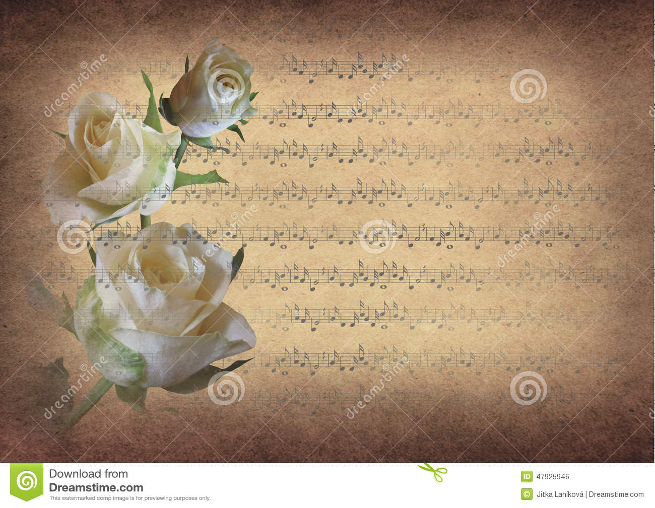 Vintage music notes with roses stock illustration for Paper roses sheet music free