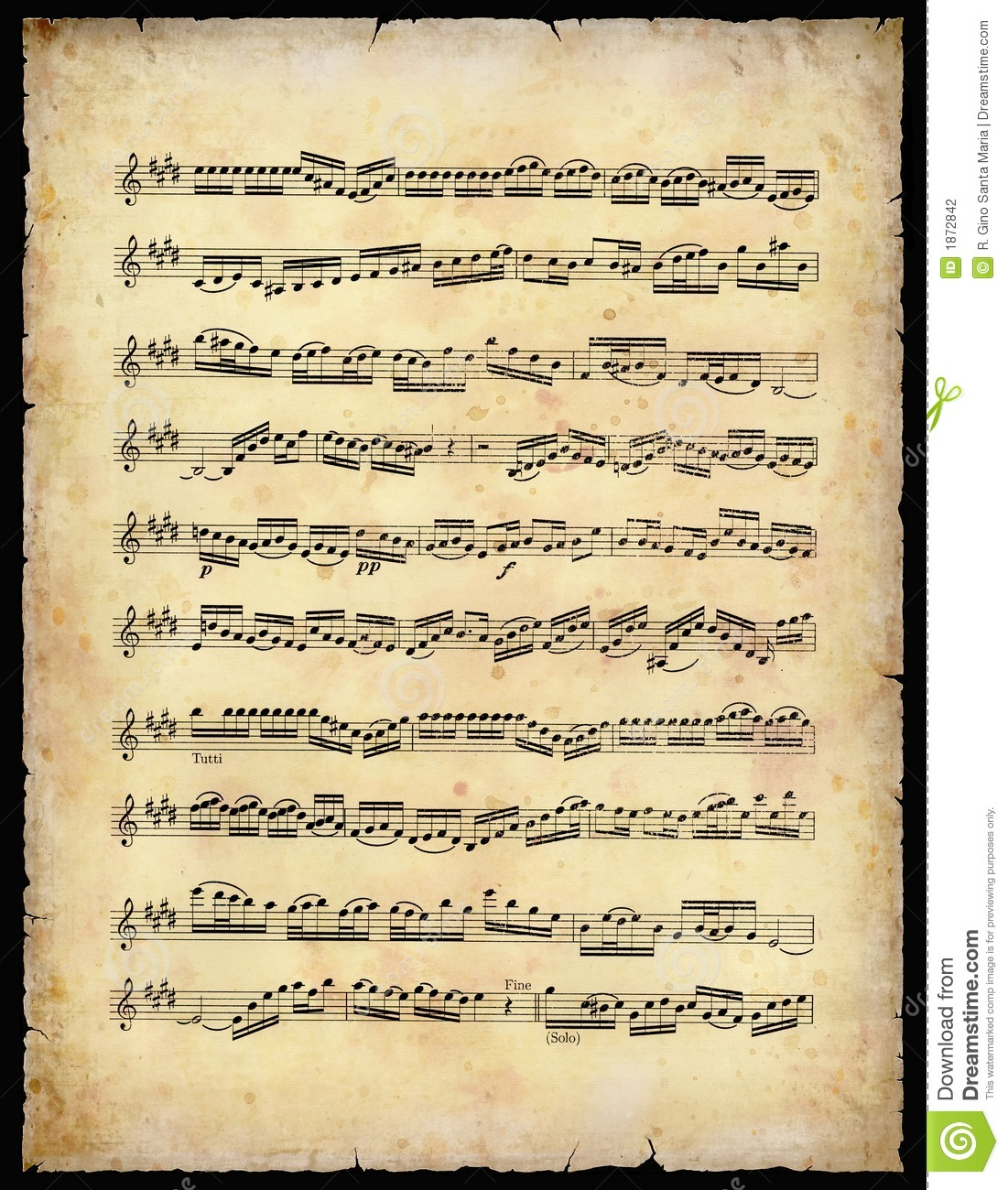 Vintage Music Sheet Stock Photography - Image: 1872842