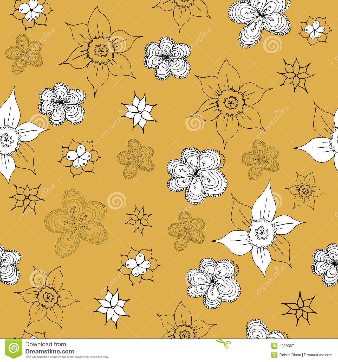 Vintage Mustard Yellow Pattern Stock Vector Illustration Of