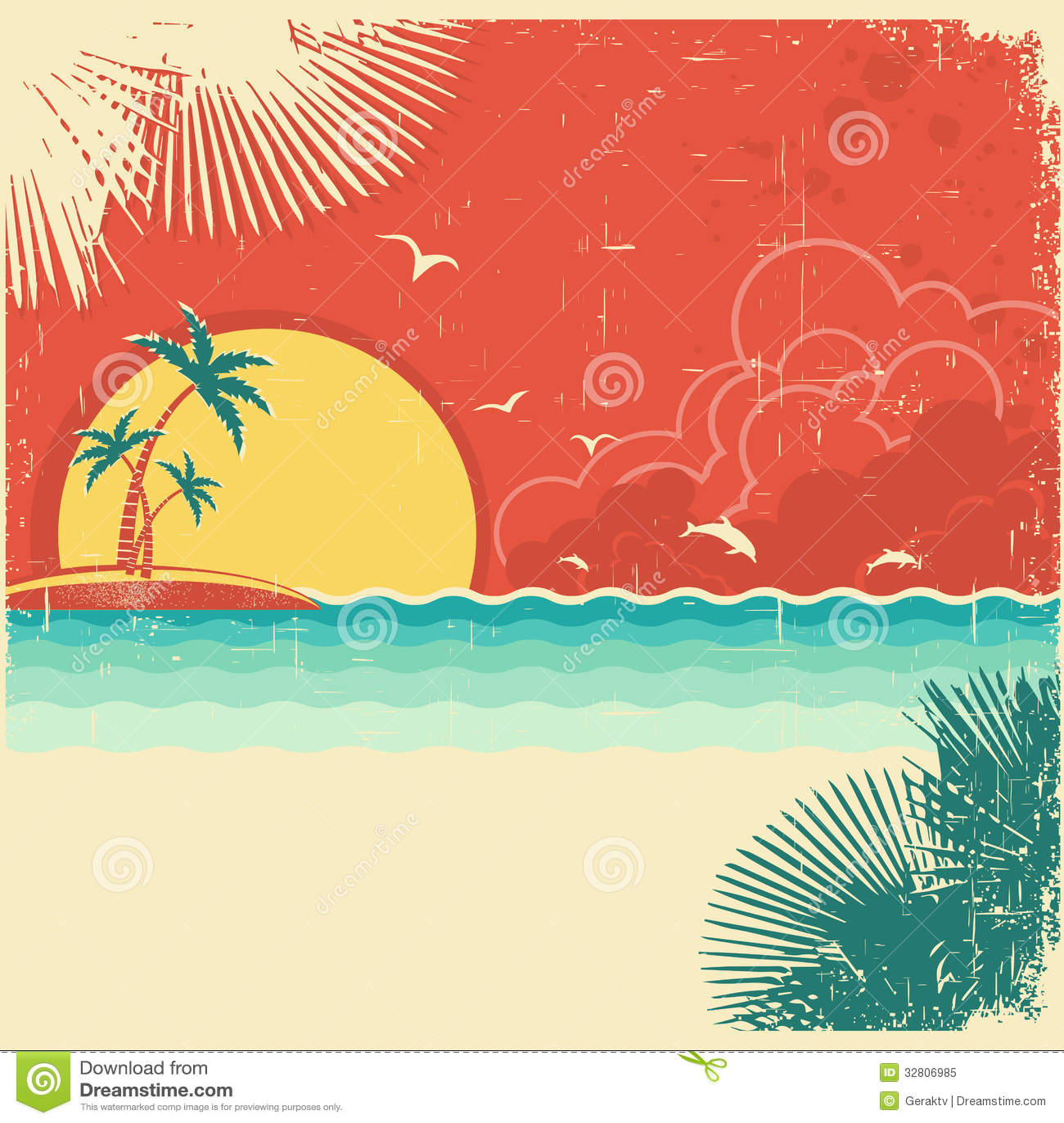 Retro Beach Illustration Royalty Free Stock Photo: Vintage Nature Tropical Seascape Background Stock Vector