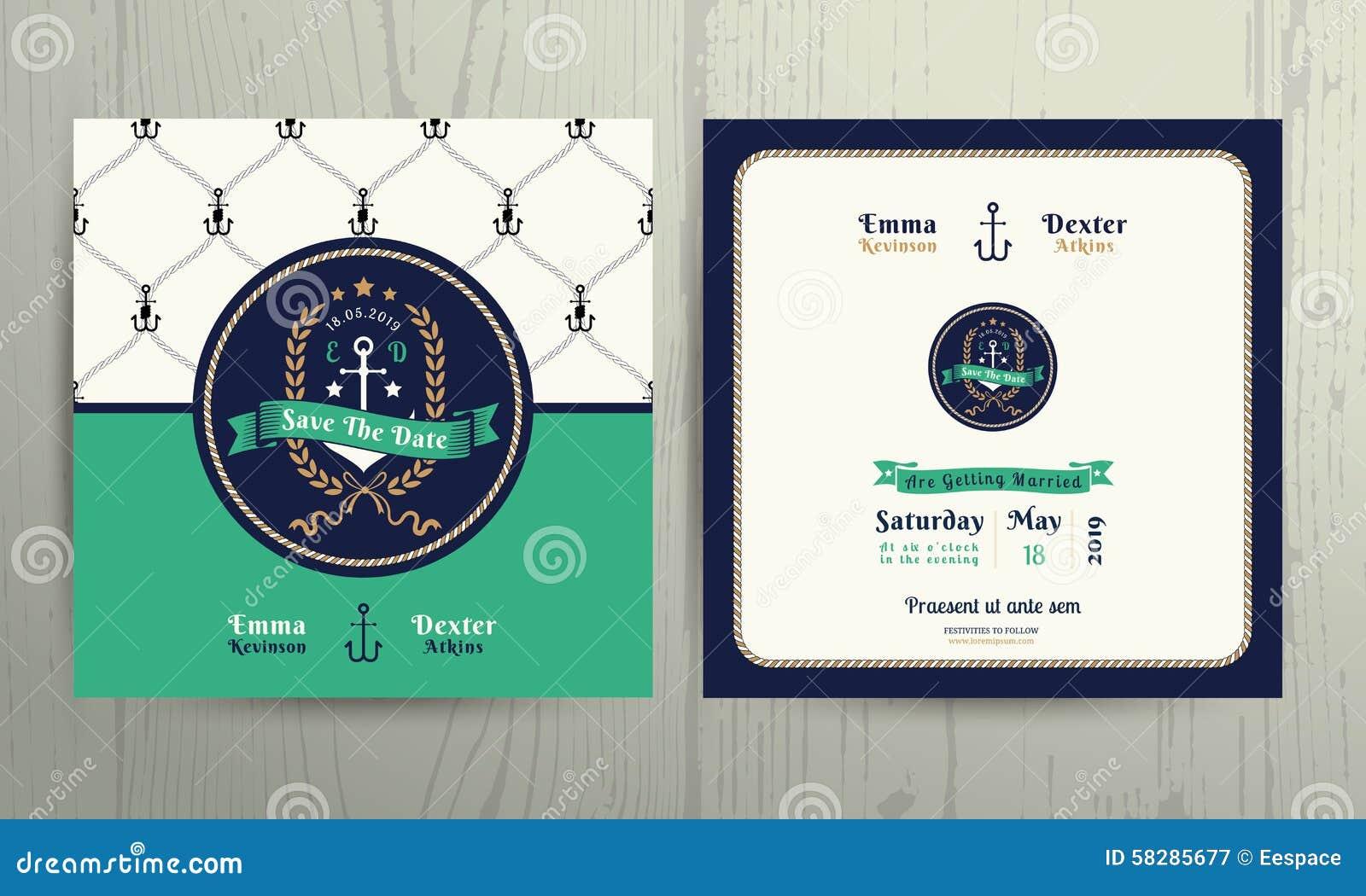 vintage nautical anchor wreath wedding invitation card