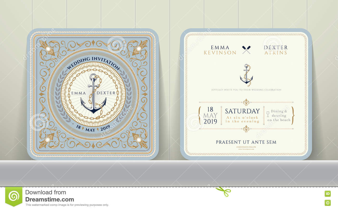 Vintage Nautical Anchors And Chain Wedding Invitation Card In ...