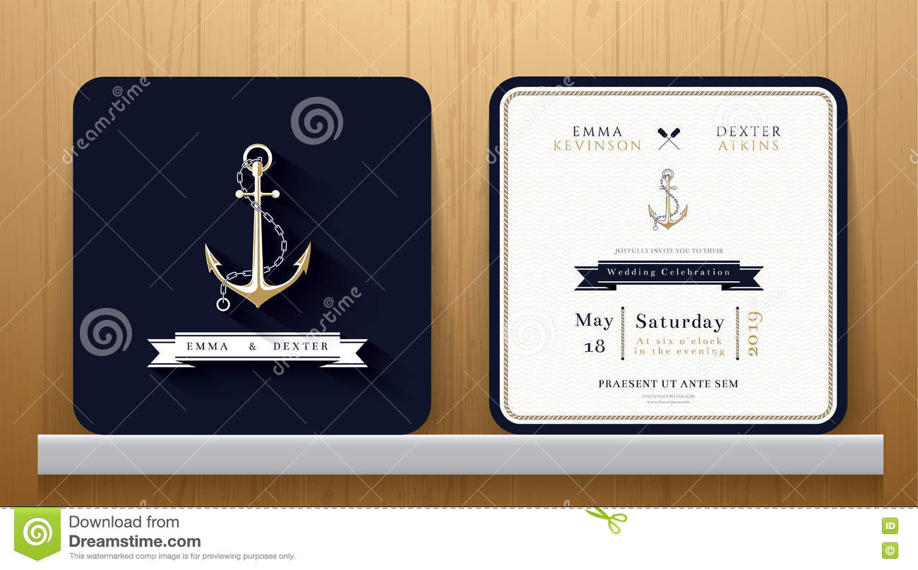 vintage nautical anchors wedding invitation card in navy blue theme