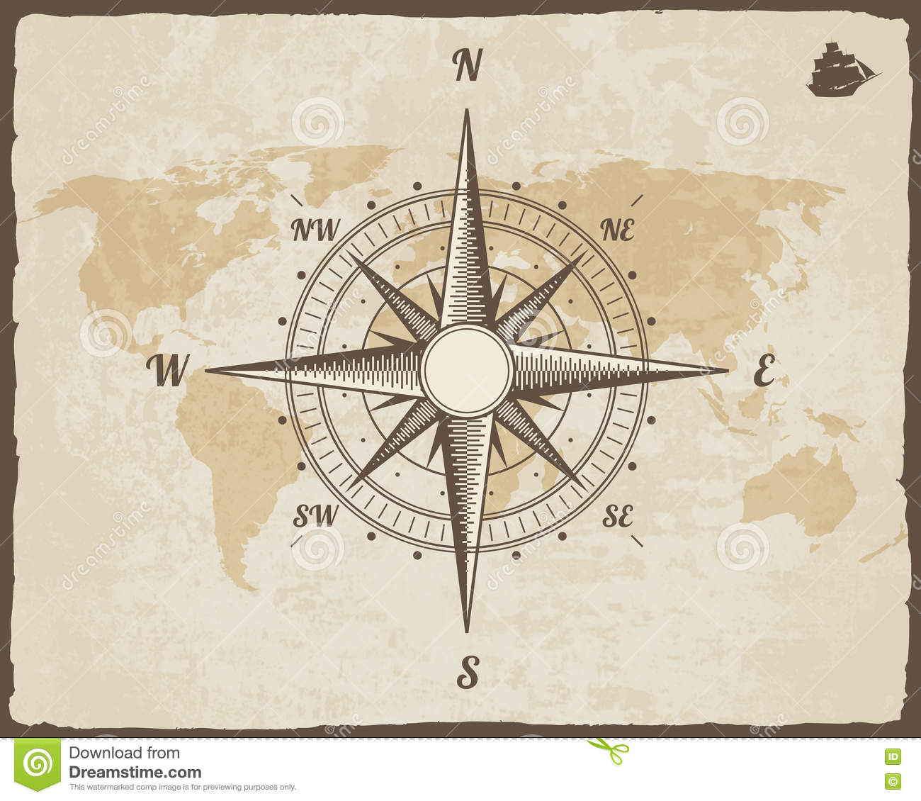 old world map on vector paper texture with torn border frame