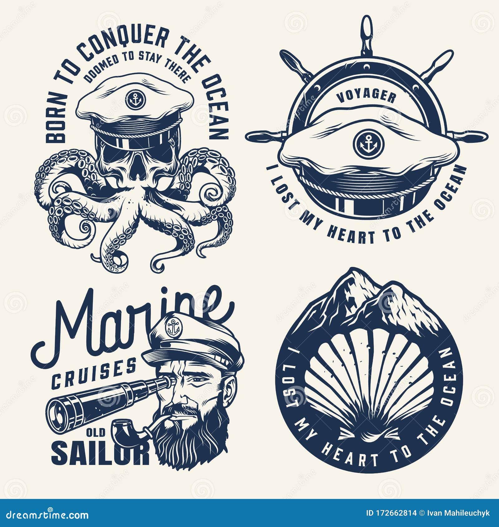 Vintage Nautical Monochrome Labels Stock Vector