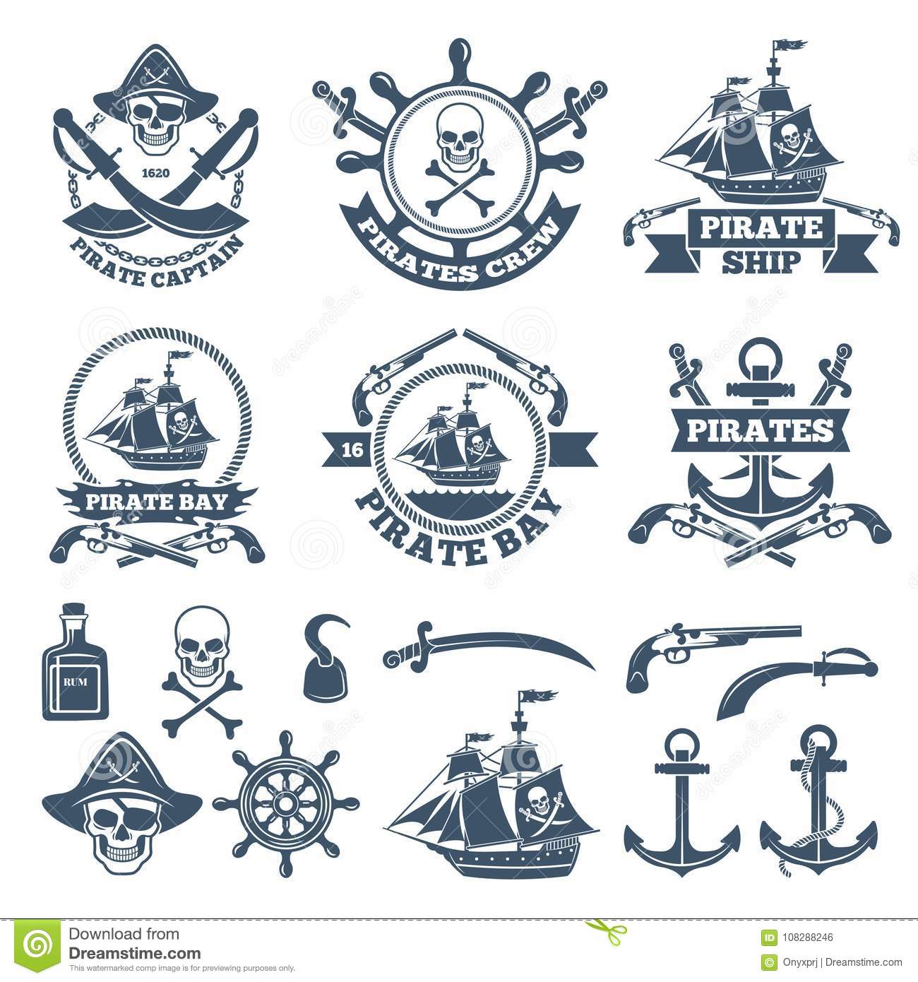 Vintage Nautical And Pirates Labels . Monochrome Logos Of