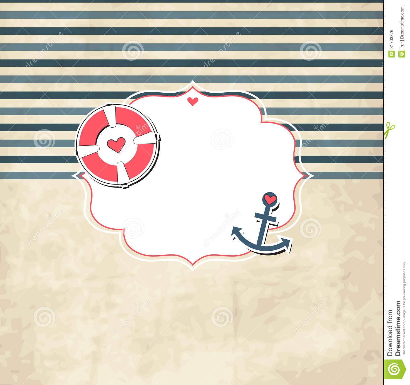Vintage Nautical Scrap Template With Photo Frame Stock Vector ...