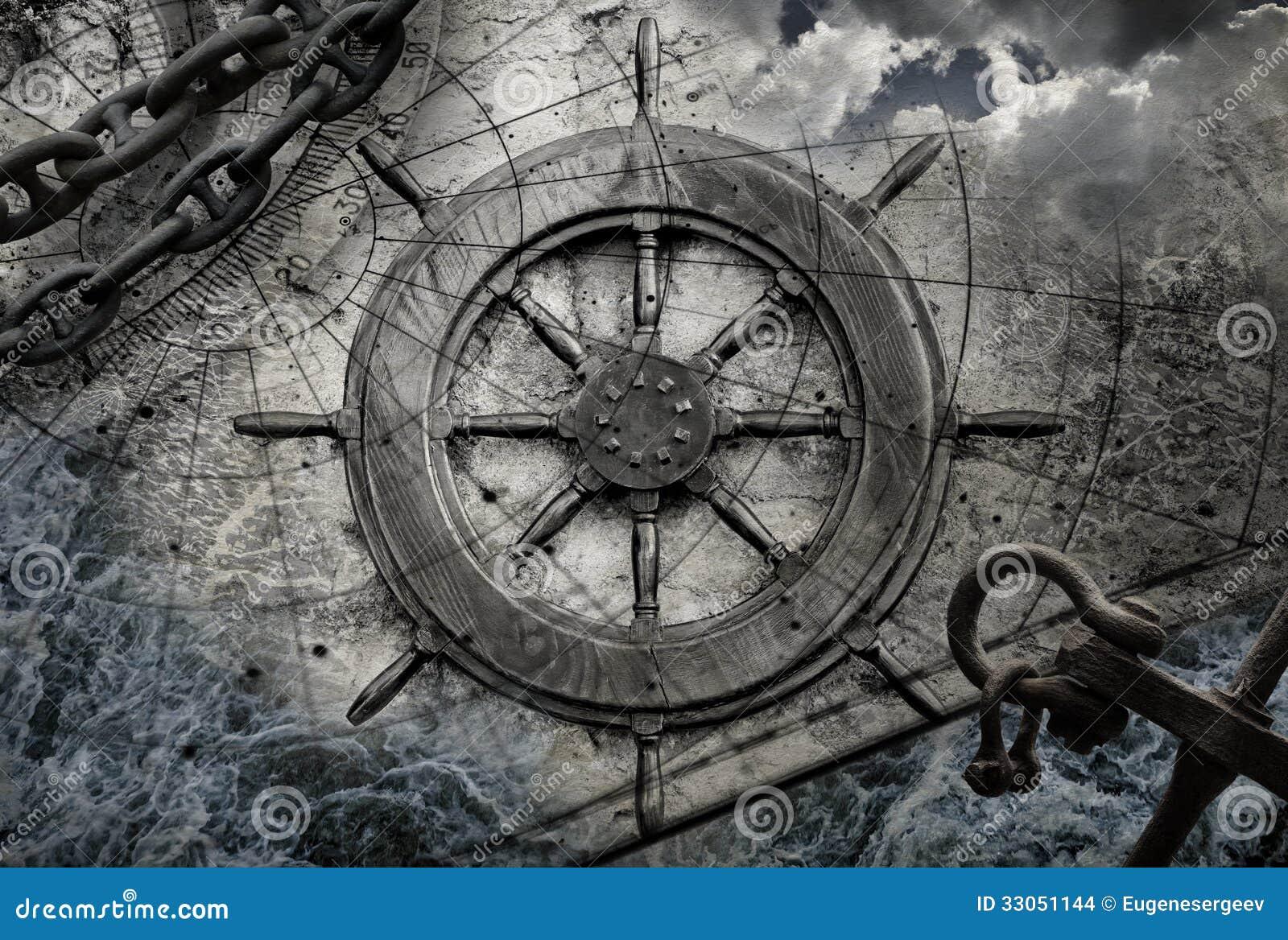 Vintage navigation background illustration