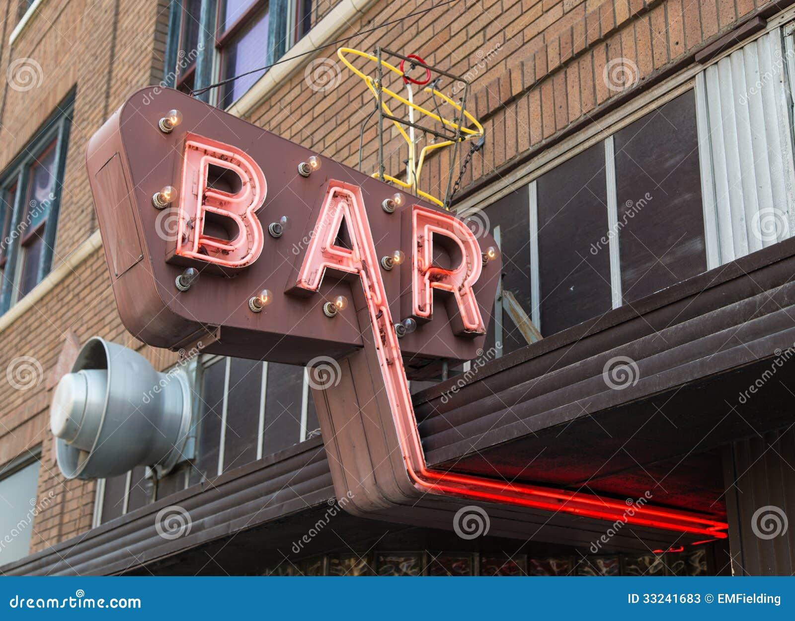 Vintage Neon Bar Sign Stock Photos - Image: 33241683