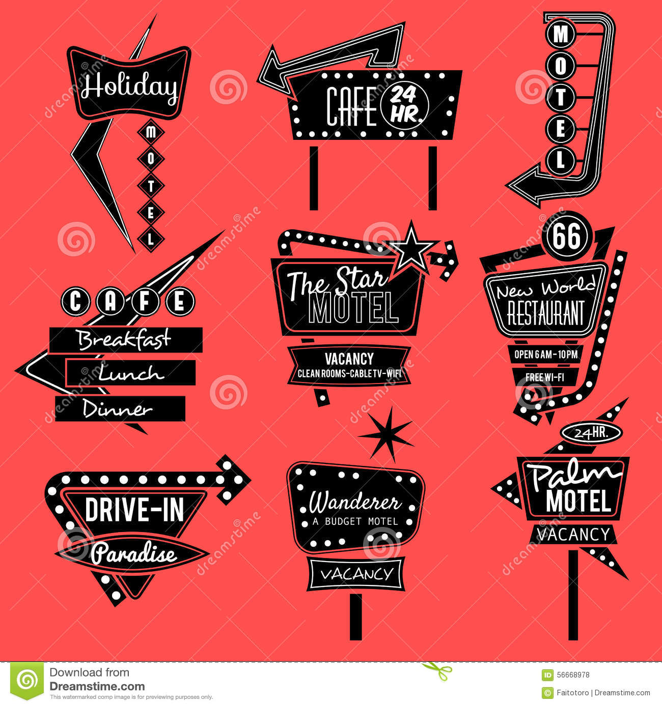 Vintage Neon Sign Black And White Stock Vector Image