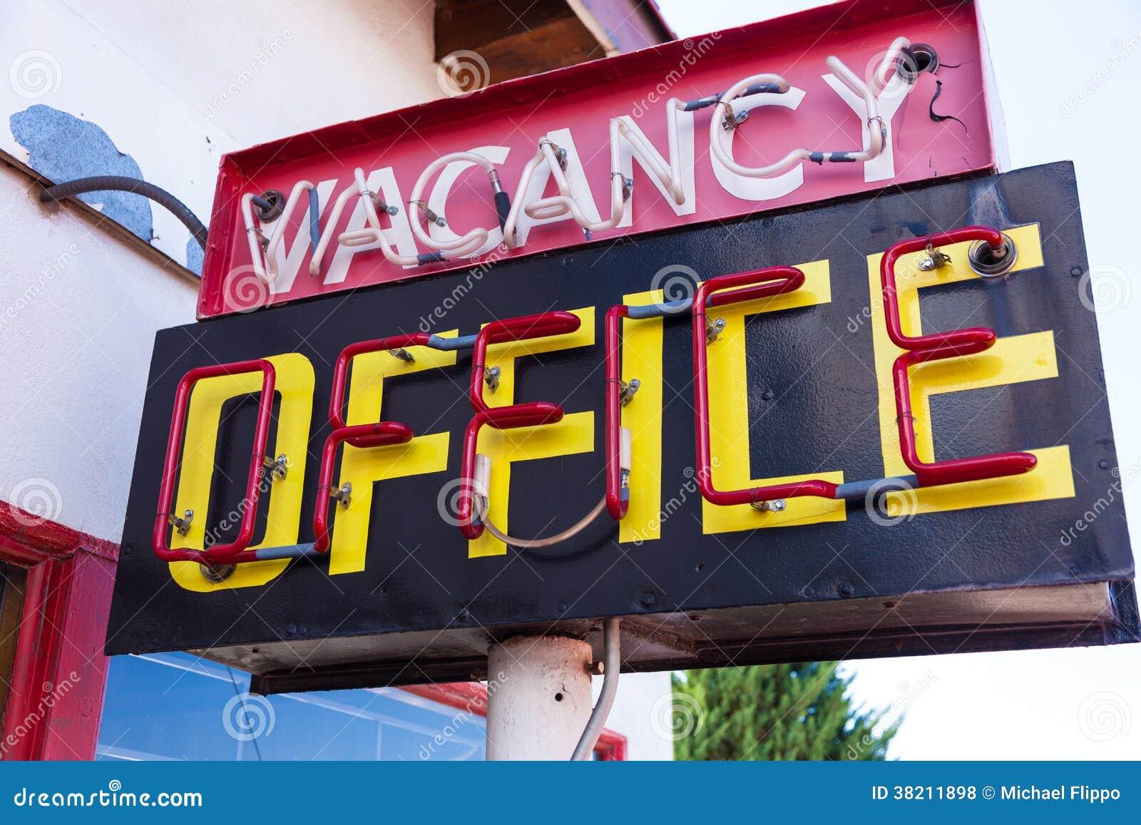 Vintage neon vacancy office sign