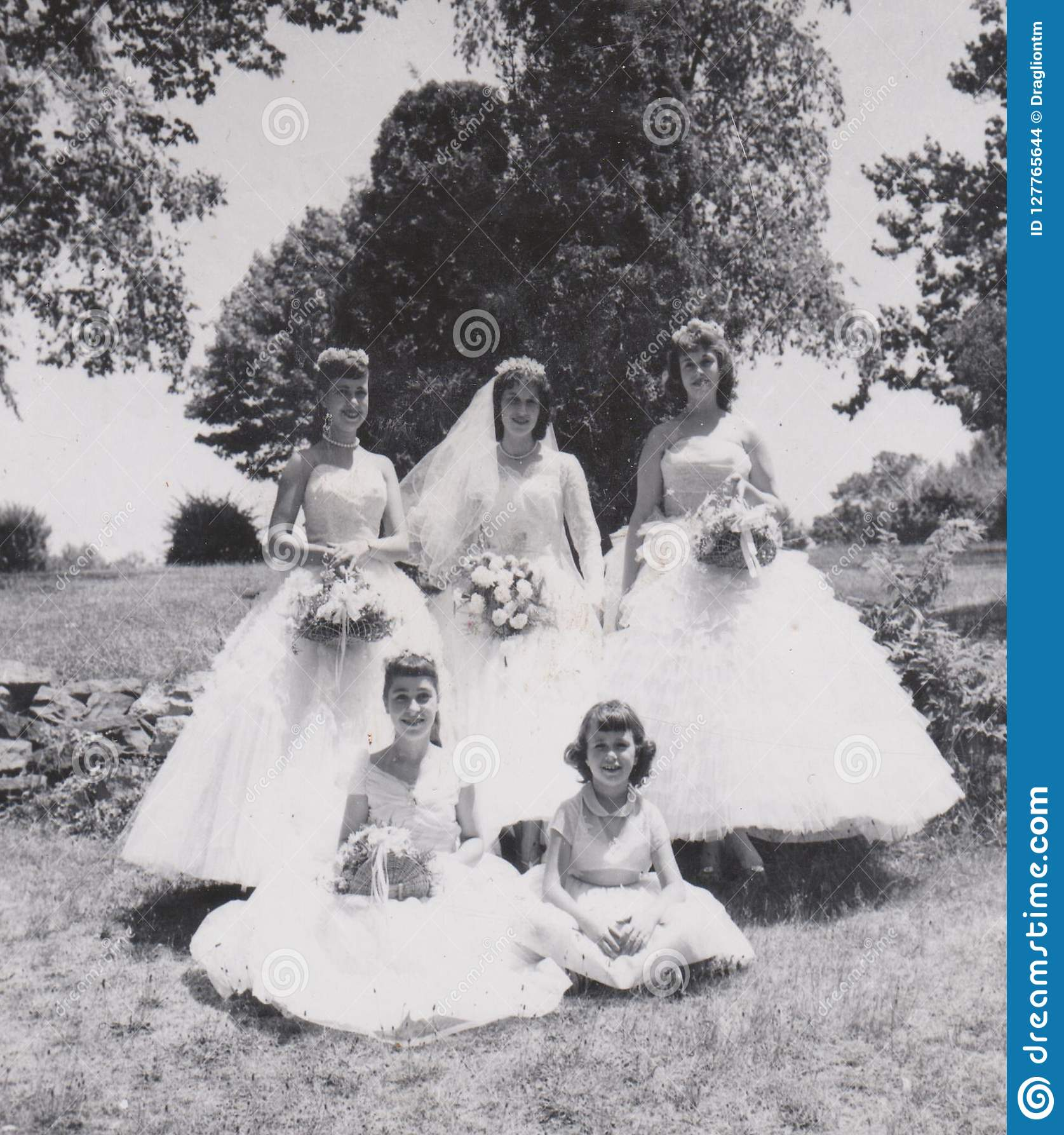 vintage nevr-fade photo -bridesmaids year 1957 wedding party