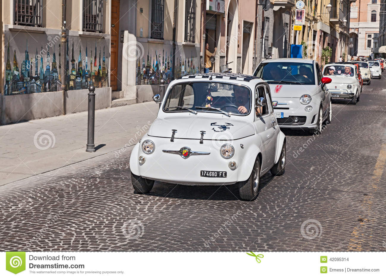 Vintage And New Fiat 500 Abarth Editorial Stock Image