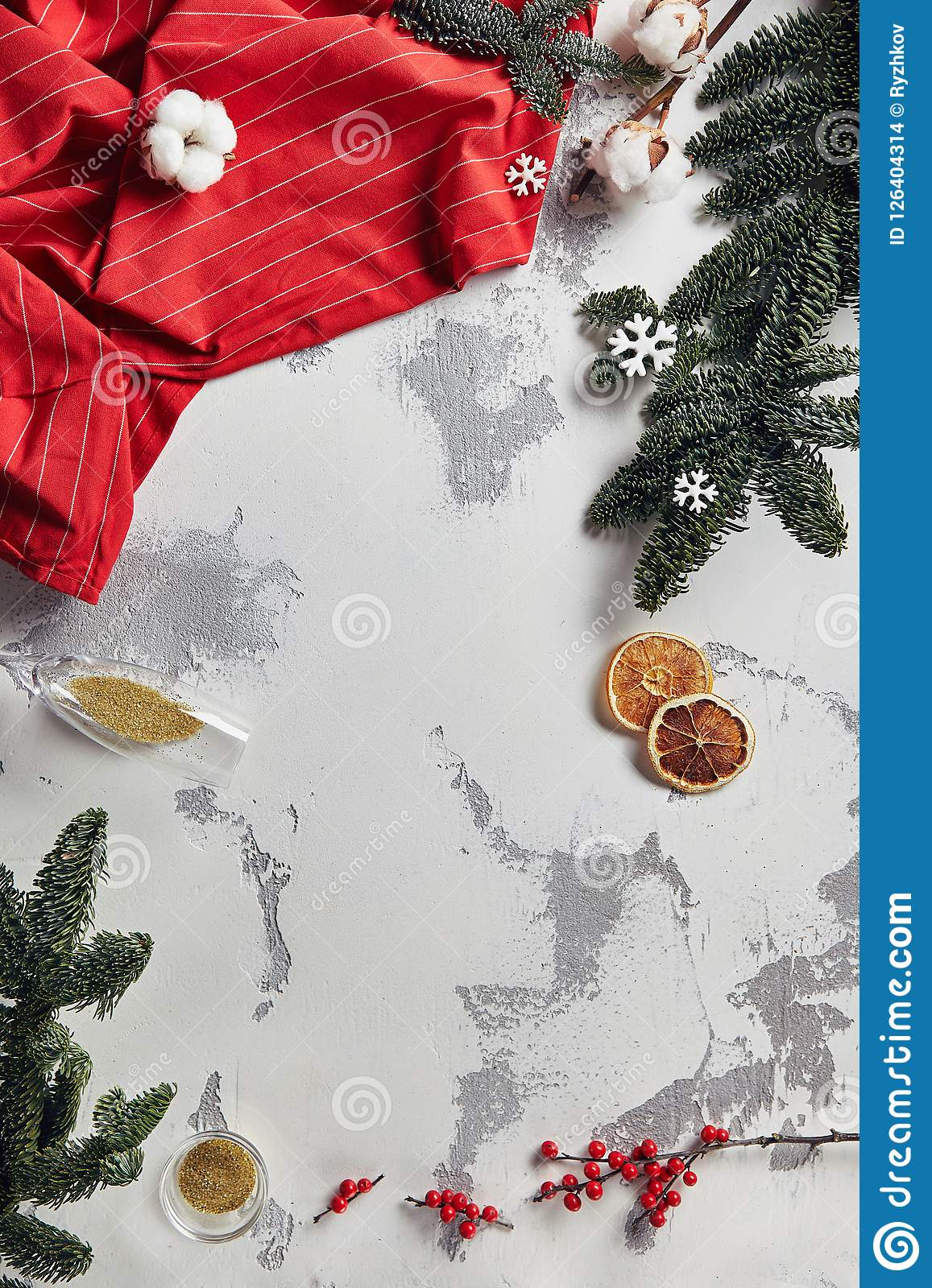vintage new year background with christmas decorations top view