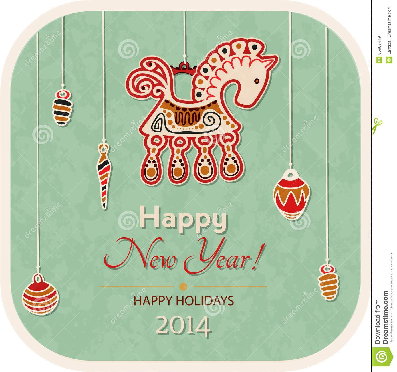 vintage new year card decoration horse stock vector illustration