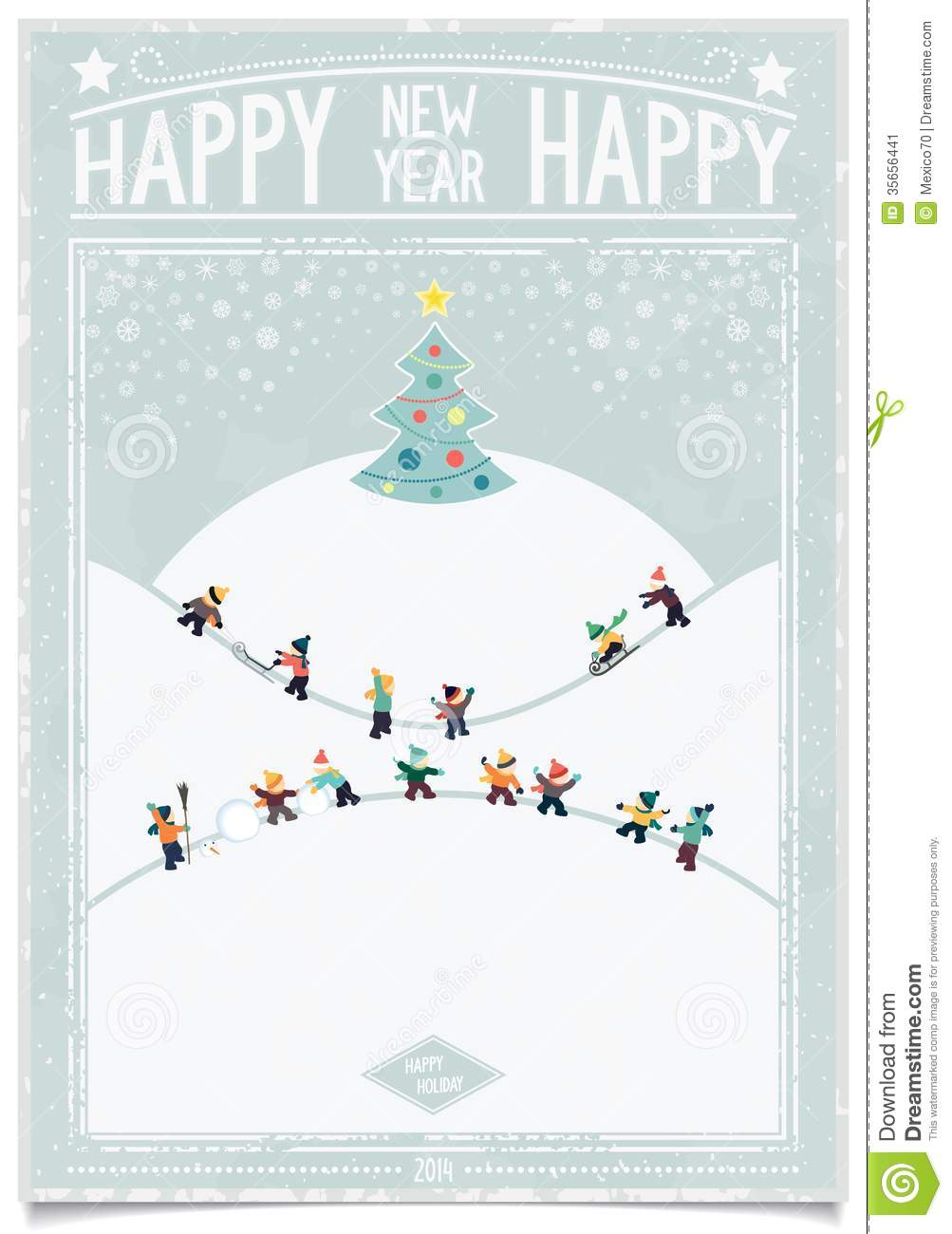 vintage new year card with playing child