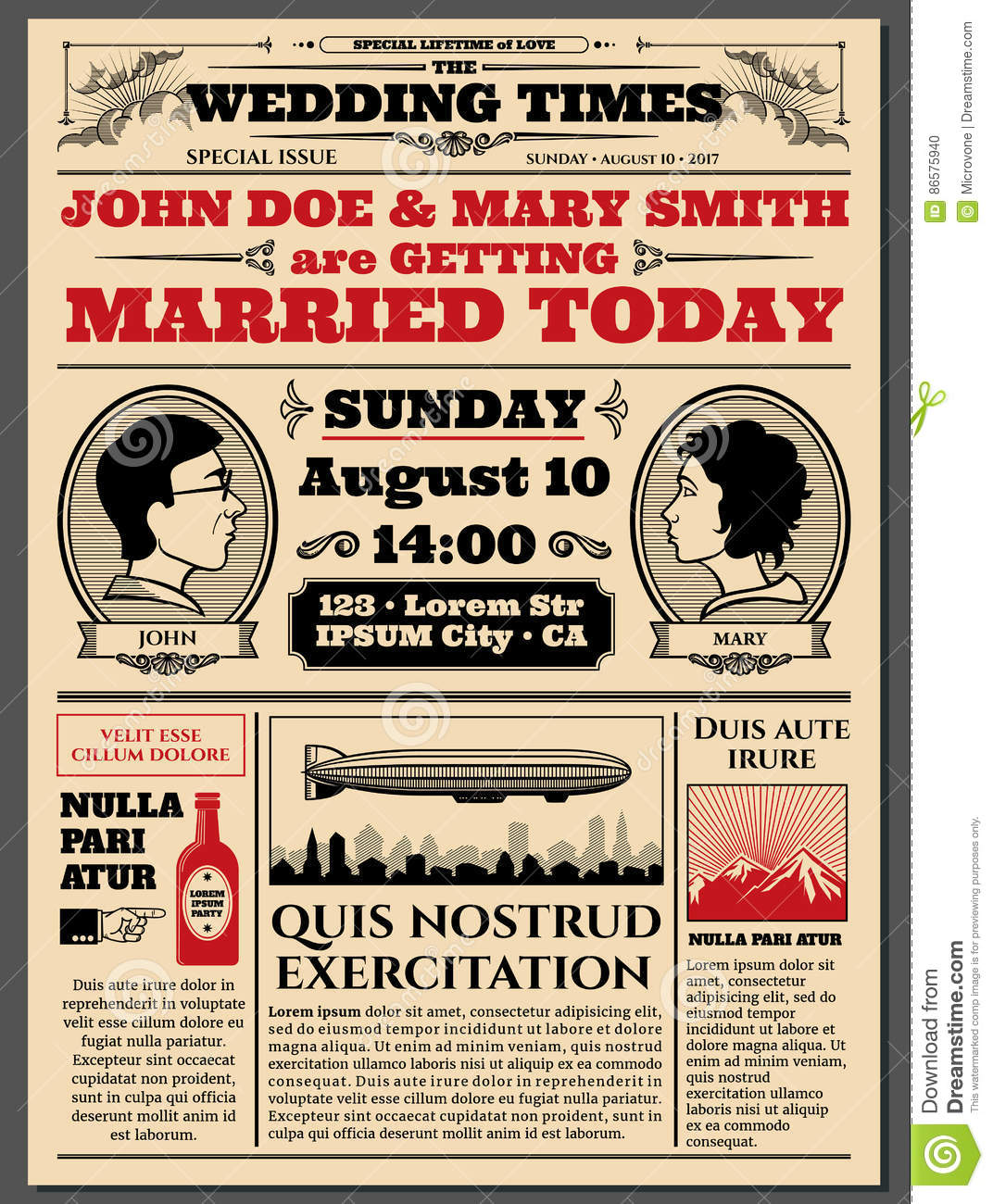 Vintage Newspaper Front Page Wedding Invitation Vector Layout