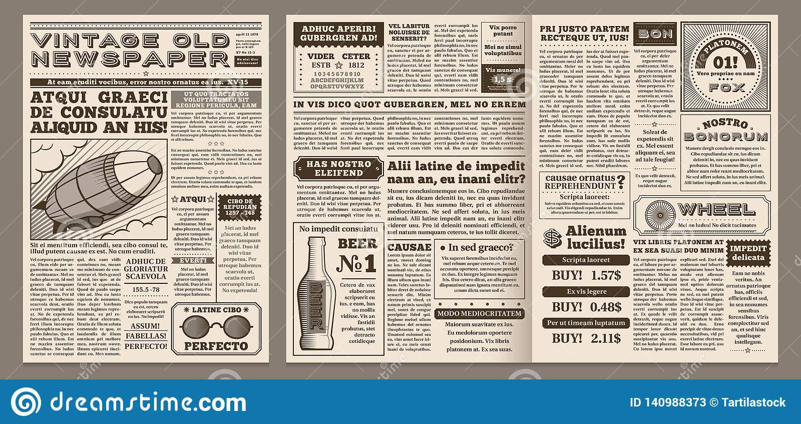 Vintage Newspaper Template  Retro Newspapers Page, Old News
